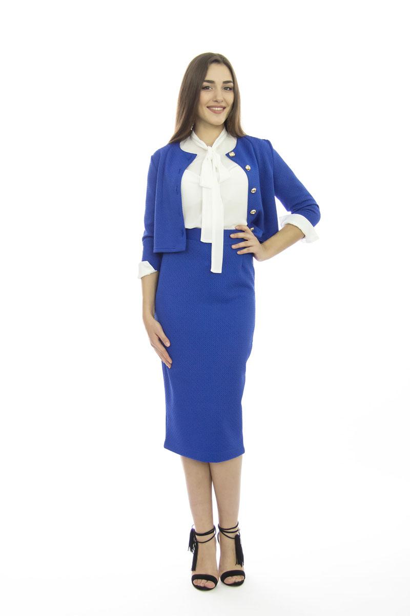Комплект одеждык509Шикарный женский комплект Lautus, состоящий из жакета и юбки, станет отличным дополнением к вашему гардеробу. Комплект выполнен из высококачественного материала с оригинальным рельефным рисунком по всей поверхности. Укороченный приталенный жакет с круглым вырезом горловины и рукавами 3/4 застегивается спереди на пуговицы. Облегающая удлиненная юбка-карандаш, дополненная разрезом сзади, отлично подчеркнет достоинства вашей фигуры. Юбка с высокой посадкой застегивается сзади на потайную застежку-молнию и на пластиковую пуговицу с внутренней стороны. В таком наряде вы непременно привлечете восхищенные взгляды окружающих!