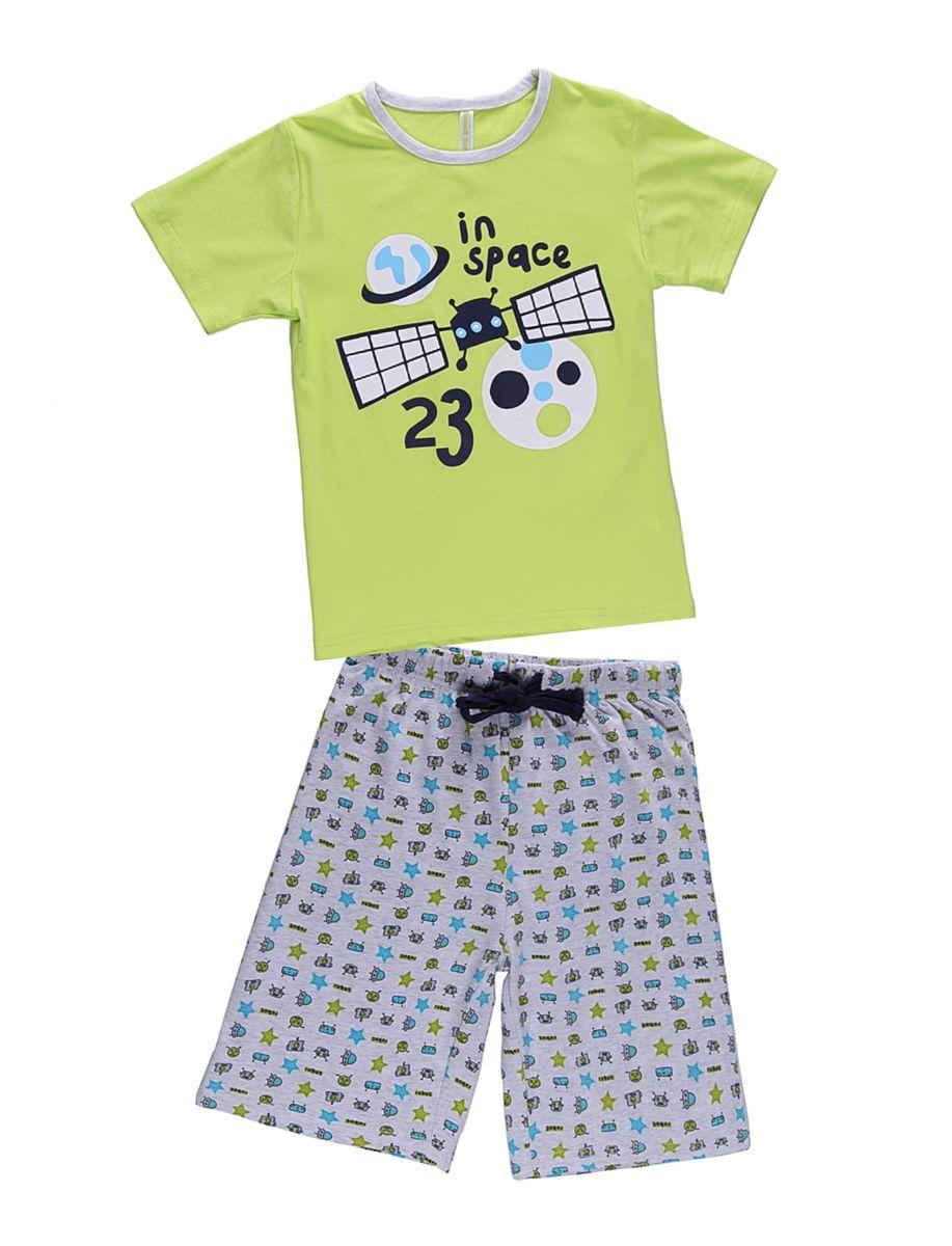 Комплект одежды для мальчика. 196162196162Комплект футболка и шорты для сна и дома. Шорты на поясе с внутренней резинкой и дополнительным хлопковым шнурком. Футболка украшена веселым принтом.