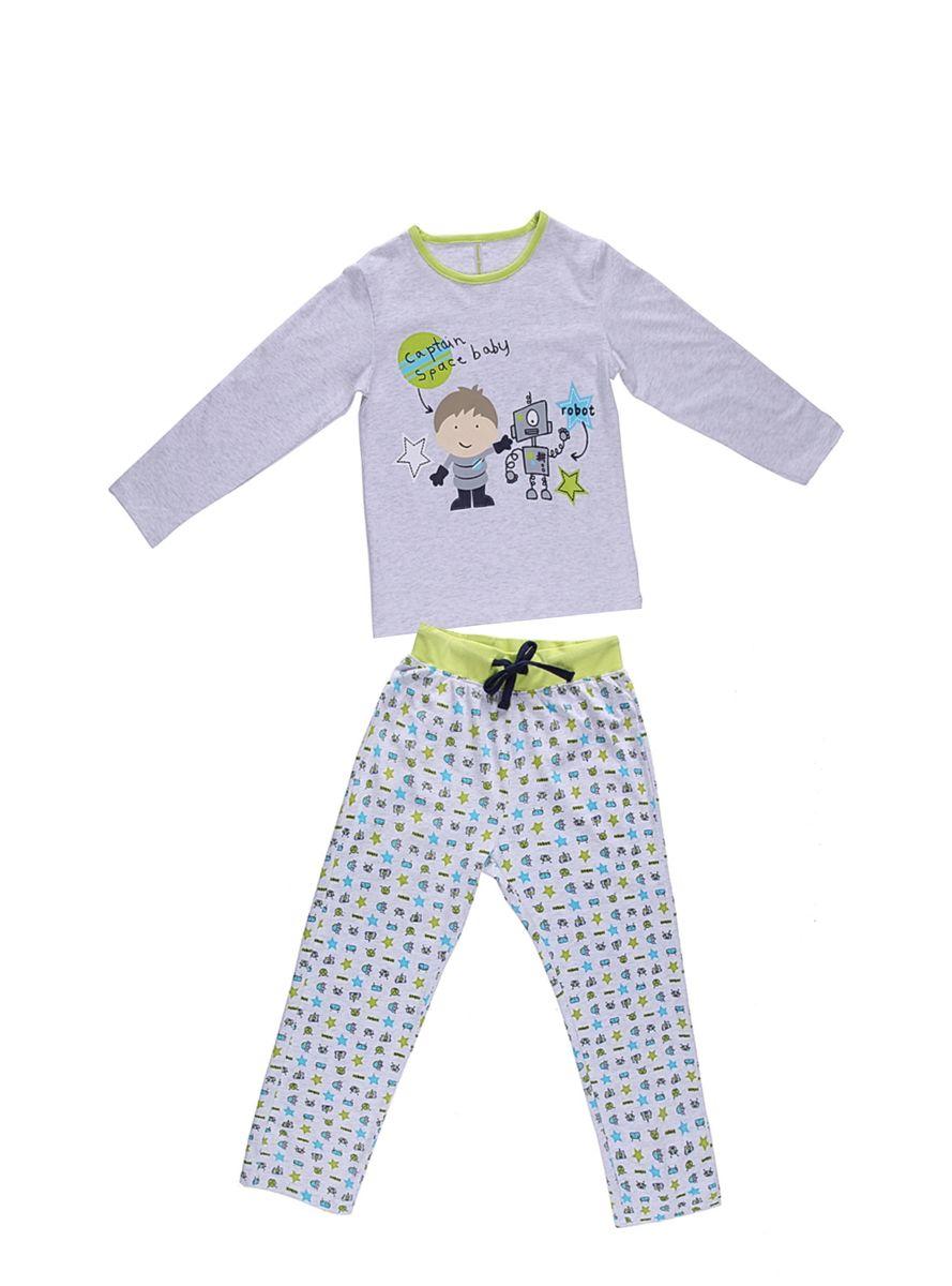 Комплект одежды для мальчика. 196172196172Комплект футболка с длинным рукавом и брюки из тонкого трикотажа для сна и дома. Брюки на поясе с внутренней резинкой и дополнительным хлопковым шнурк