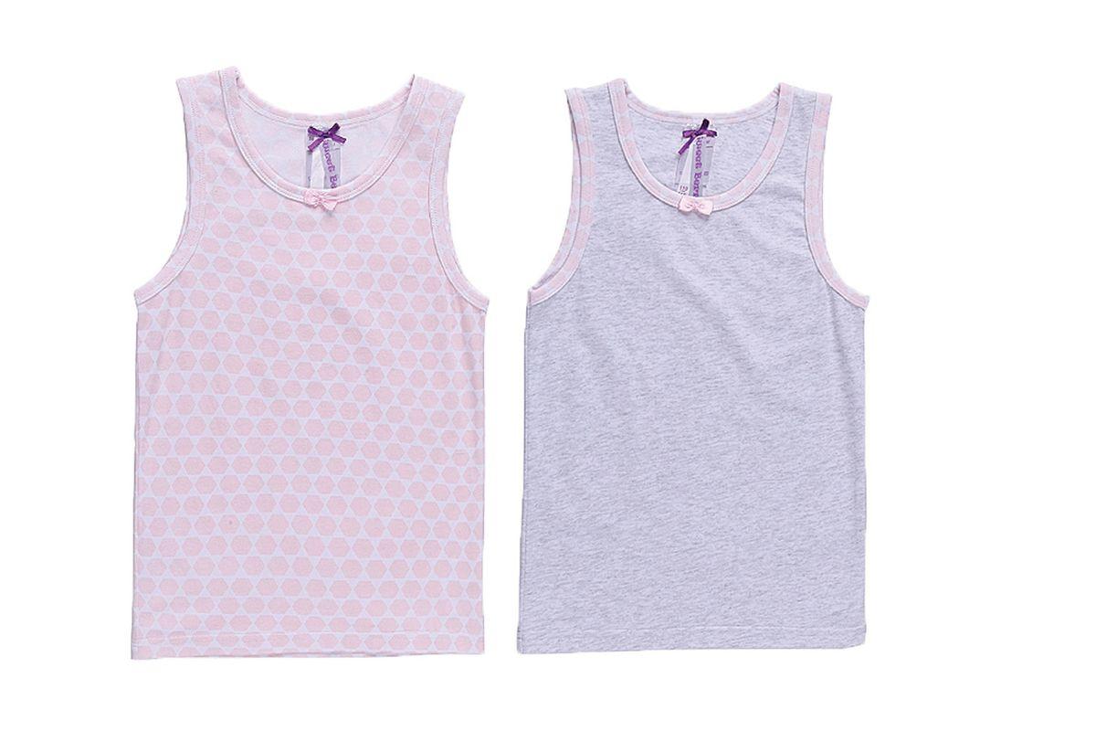 Майка195951Комплект состоит из двух маек для девочки, однотонной и принтованной. Майки украшены декоративной резинкой.