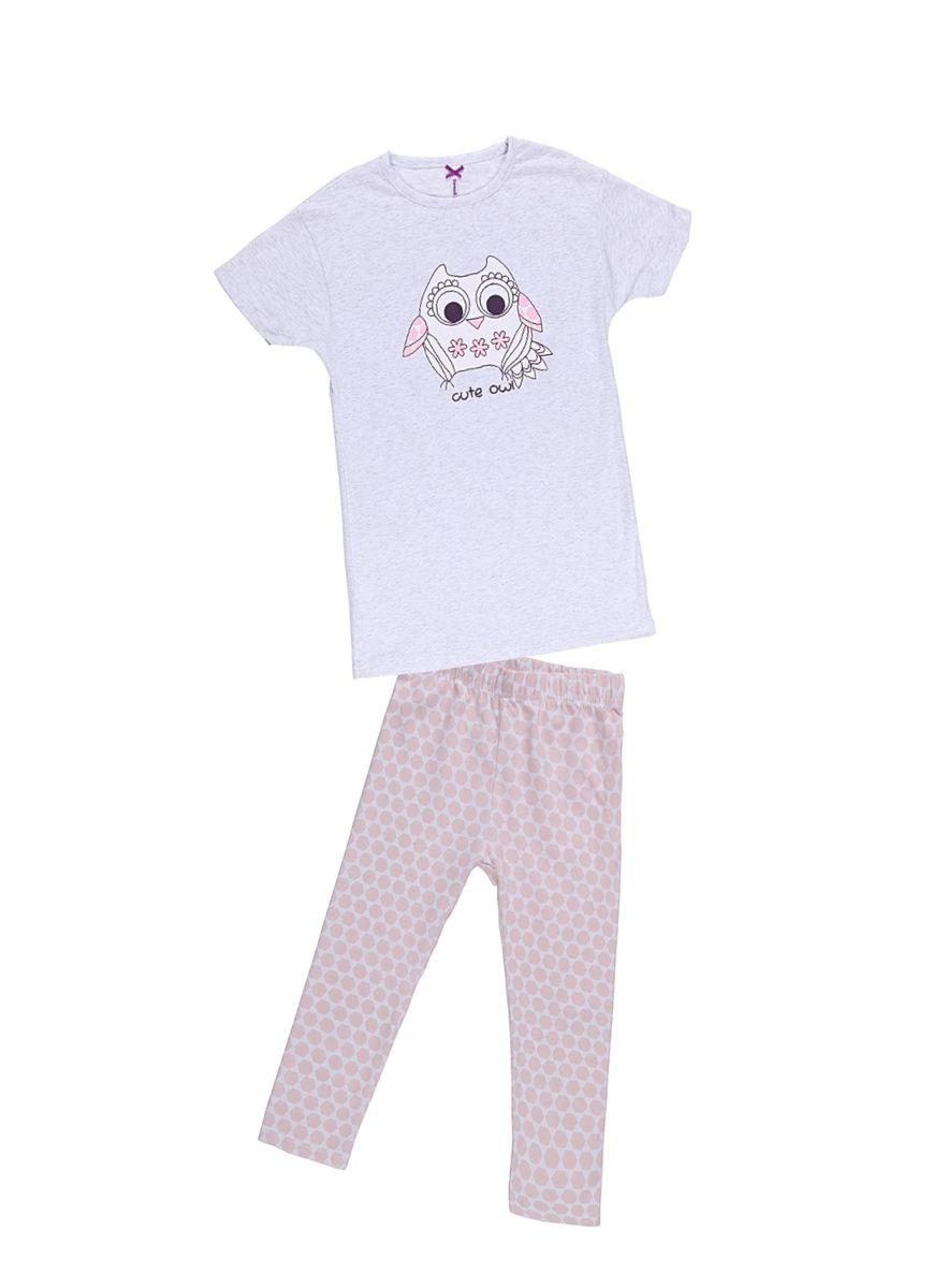 Комплект одежды для девочки. 195945195945Удлиненная футболка с лосинами. Футболка украшена принтом.