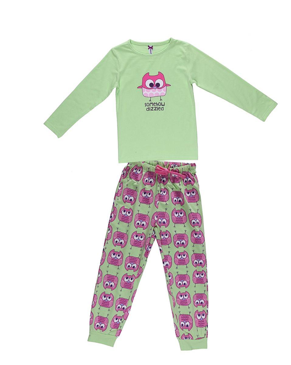 Комплект одежды для девочки. 195944195944Пижама для девочки, футболка с длинным рукавом украшена принтом, брюки из принтованной ткани на манжетах.