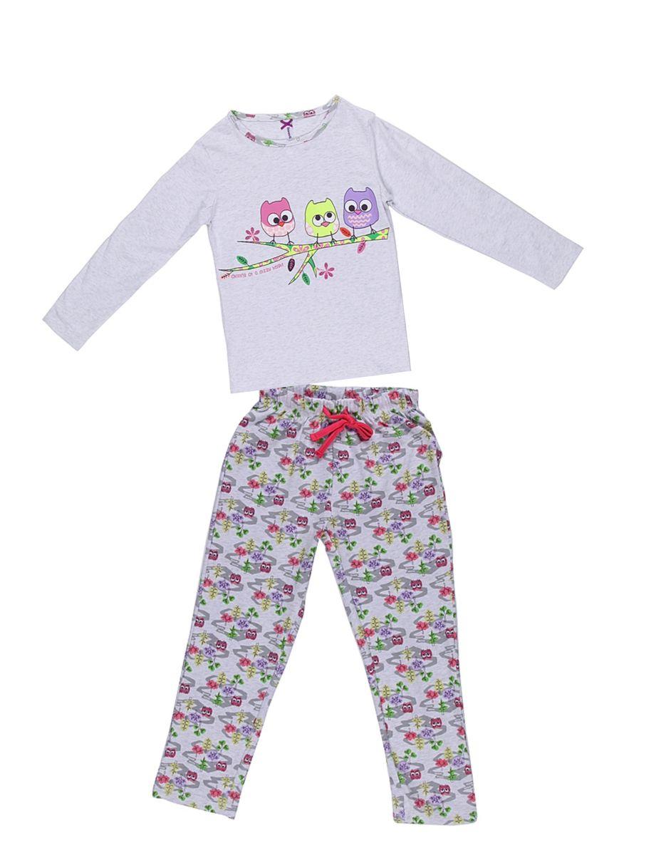 Комплект одежды для девочки. 195943195943Пижама для девочки, футболка с длинным рукавом украшена принтом, брюки из принтованной ткани.