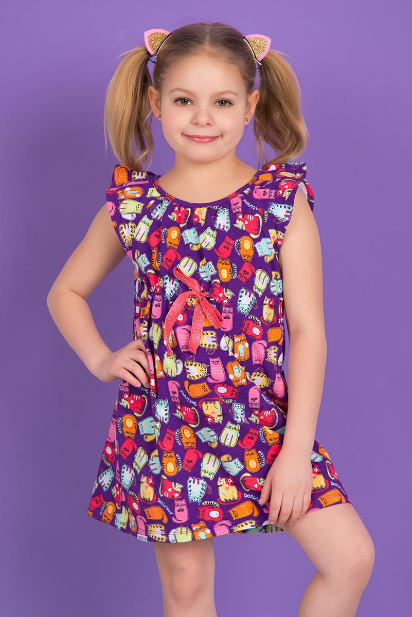 SS16-DLUZ-583Платье для девочки Detiland выполнено из эластичного хлопка. Модель средней длины с короткими рукавами-крылышками и круглым вырезом горловины дополнена шнурком-кулиской на талии. Платье украшено ярким принтом с изображением забавных кошек.