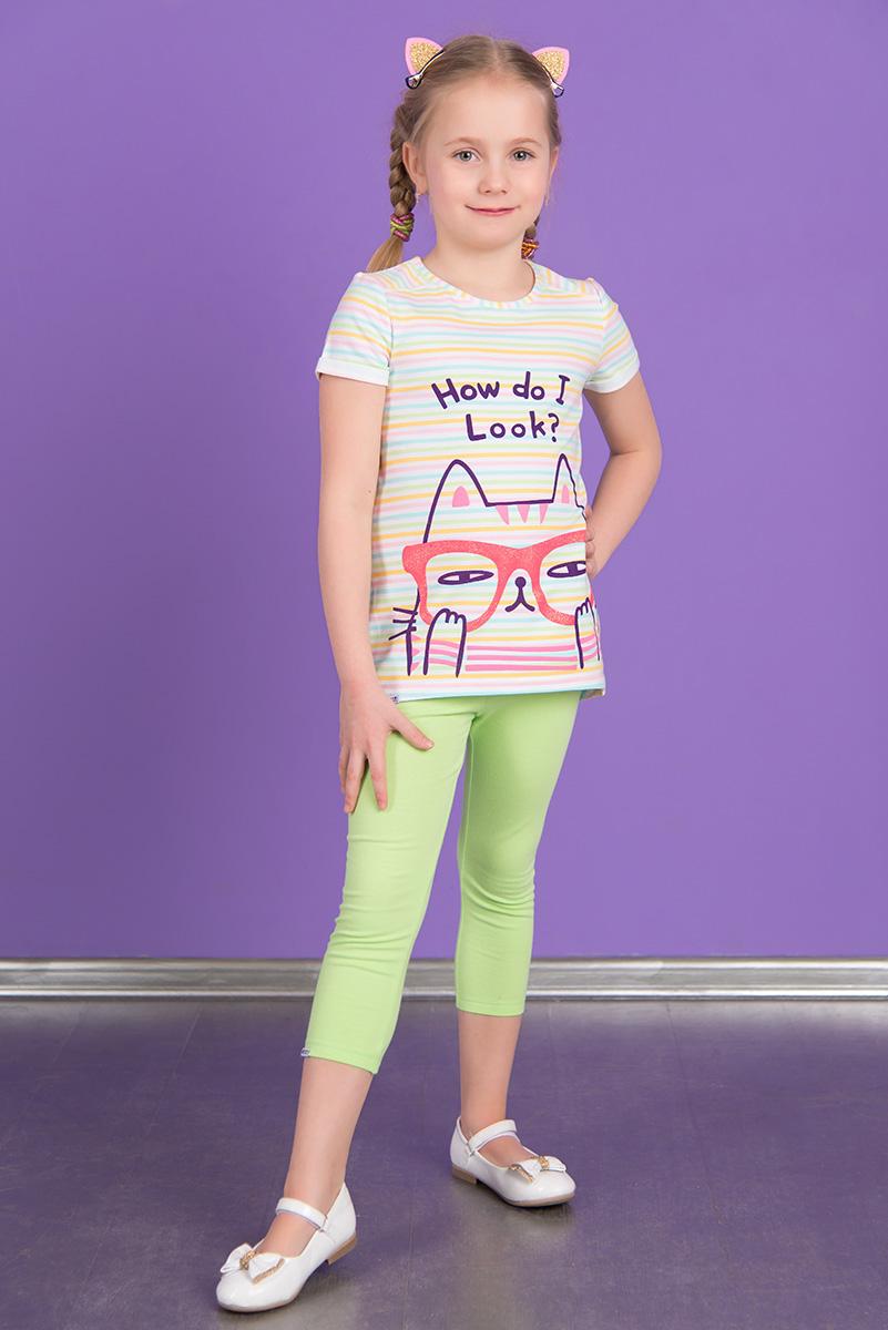 ЛеггинсыSS16-DLUZ-585Укороченные леггинсы для девочки Detiland изготовлены из эластичного хлопка. Леггинсы имеют широкую эластичную резинку на поясе.
