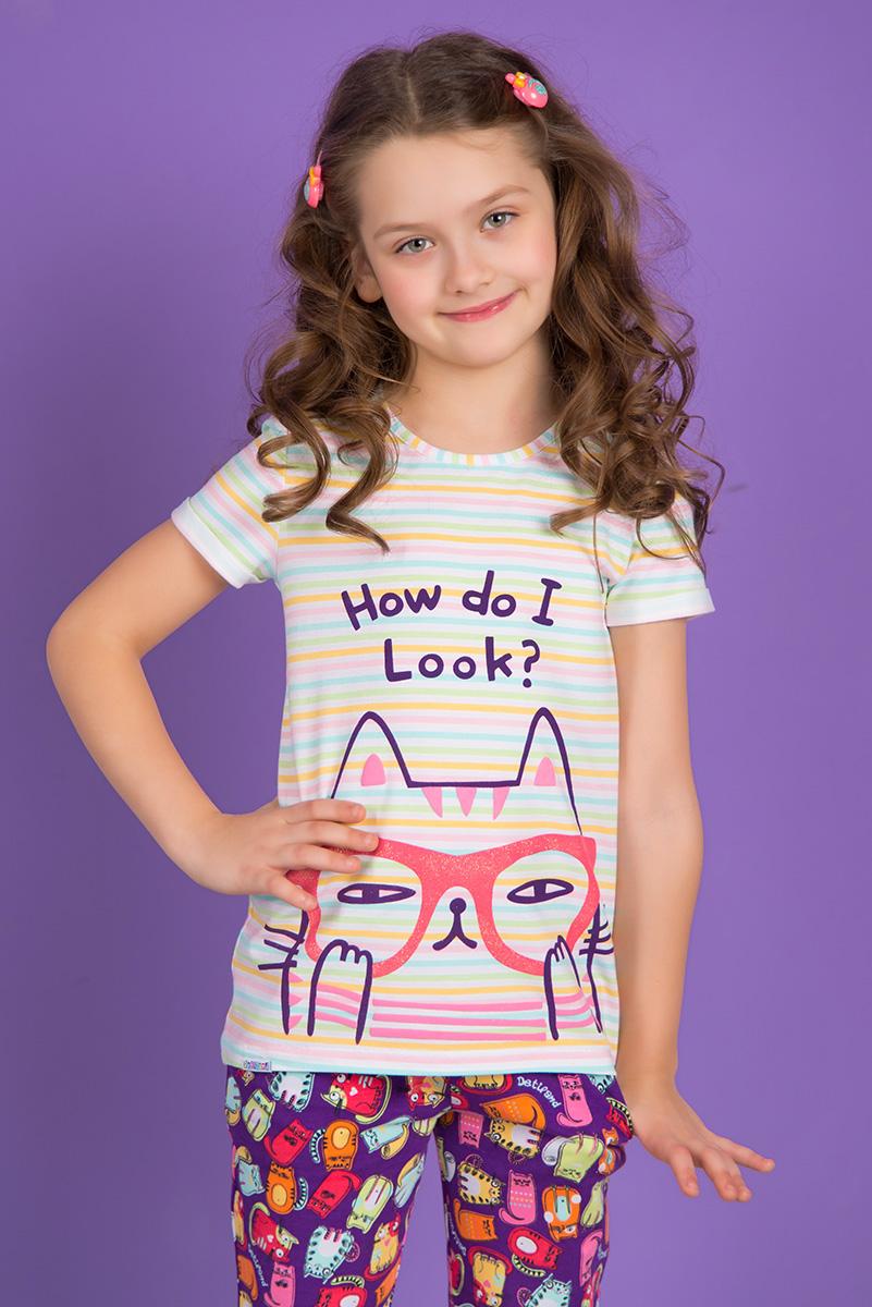 SS16-DLUZ-580-aТуника для девочки Detiland с короткими рукавами и круглым вырезом горловины выполнена из эластичного хлопка. Туника застегивается на пластиковую пуговицу на спинке. Модель украшена принтом в полоску и дополнена изображением кота в очках, а также надписью How Do I Look?.