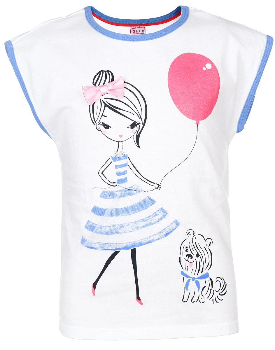 Футболка для девочки. Ts-511/162-6133Ts-511/162-6133Очаровательная футболка для девочки Sela идеально подойдет вашей дочурке. Изготовленная из натурального хлопка, она необычайно мягкая и приятная на ощупь, не сковывает движения и позволяет коже дышать, не раздражает даже самую нежную и чувствительную кожу ребенка, обеспечивая ему наибольший комфорт. Футболка без рукавов и круглым вырезом горловины. Вырез горловины и рукава дополнены трикотажными бейками. Модель спереди декорирована изображением девочки с атласным бантиком и юбочкой из органзы. Оригинальный современный дизайн и расцветка делают эту футболку модным и стильным предметом детского гардероба. В ней ваша маленькая модница будет чувствовать себя уютно и комфортно, и всегда будет в центре внимания!