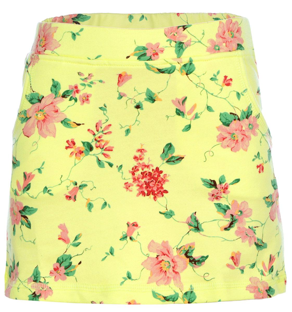 Юбка для девочки. SKk-618/041-6153SKk-618/041-6153Стильная трикотажная юбка для девочки Sela идеально подойдет вашей моднице и станет отличным дополнением к детскому гардеробу. Изготовленная из эластичного хлопка, она необычайно мягкая и приятная на ощупь, не сковывает движения и позволяет коже дышать, не раздражает нежную кожу ребенка, обеспечивая ему наибольший комфорт. Юбка на талии имеет широкую эластичную резинку, благодаря чему они не сдавливают животик ребенка и не сползают. Спереди модель дополнена двумя втачными. Юбка оформлена цветочным принтом. В такой юбочке ваша принцесса будет чувствовать себя комфортно, уютно и всегда будет в центре внимания!
