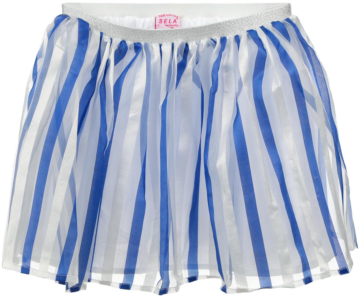 ЮбкаSK-518/031-6224Пышная юбка для девочки Sela станет отличным дополнением к гардеробу маленькой модницы. Изготовленная из полиэстера на подкладке из натурального хлопка, она мягкая и приятная на ощупь, не сковывает движения и хорошо пропускает воздух. Благодаря мягкой эластичной резинке на поясе, юбка не сползает и не сдавливает животик ребенка. От линии талии заложены складочки, придающие изделию воздушность. Верх юбки выполнен из полупрозрачной ткани, оформленной полосками. Пояс украшен блестящей металлизированной нитью. В такой юбочке ваша маленькая принцесса всегда будет в центре внимания!