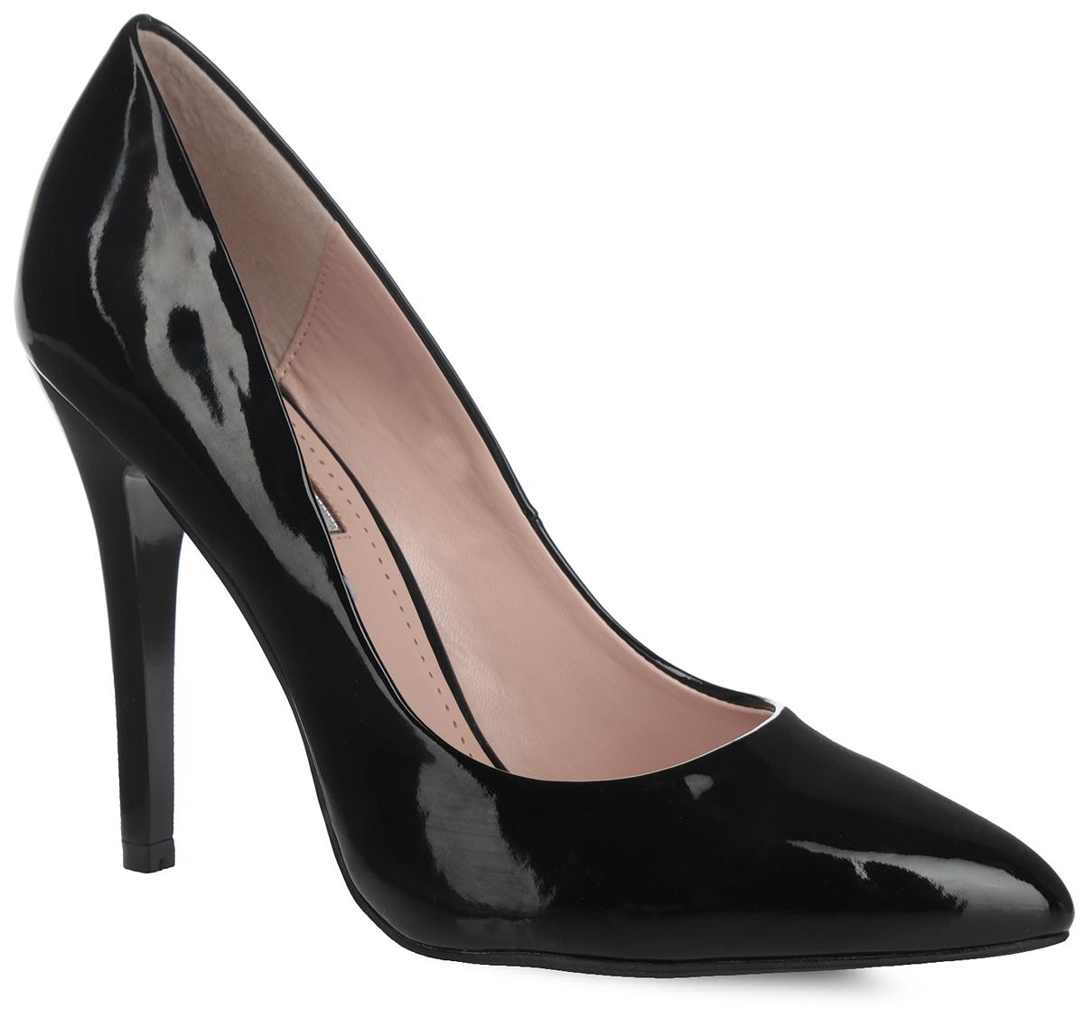 1015-04-1Роскошные туфли от Inario покорят вас с первого взгляда! Модель выполнена из искусственной лакированной кожи. Заостренный носок смотрится невероятно женственно. Стелька из искусственной кожи, оформленная названием бренда, по контуру - декоративной перфорацией, комфортна при ходьбе. Высокий каблук устойчив. Рифление на подошве и на каблуке гарантирует идеальное сцепление с любой поверхностью. Элегантные туфли займут достойное место в вашем гардеробе.