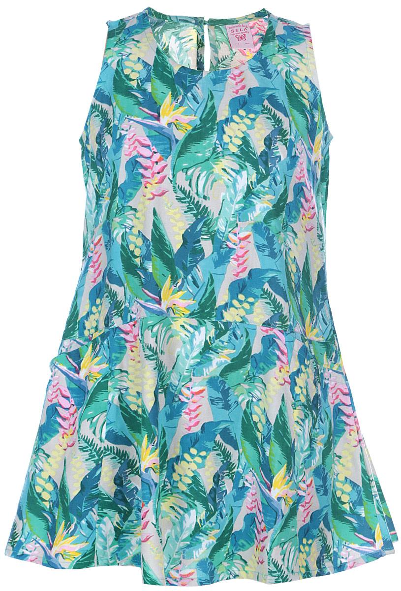 Платье для девочки. Dsl-617/038-6123Dsl-617/038-6123Красивое платье для девочки Sela станет отличным дополнением к гардеробу вашей маленькой модницы. Изготовленное из вискозы, оно мягкое и приятное на ощупь, не сковывает движения и позволяет коже дышать, обеспечивая наибольший комфорт. Платье с круглой горловиной, без рукавов. Модель оформлена оригинальным принтом. Спереди платье дополнено двумя накладными карманами. На спинке декоративный вырез, застегивается на пуговицу. В таком платье маленькая принцесса всегда будет в центре внимания!