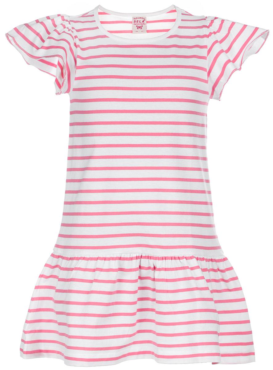 Платье для девочки. Dksl-517/364-6123Dksl-517/364-6123Красивое платье для девочки Sela станет отличным дополнением к гардеробу вашей маленькой модницы. Изготовленное из натурального хлопка, оно мягкое и приятное на ощупь, не сковывает движения и позволяет коже дышать, обеспечивая наибольший комфорт. Подкладка также из натурального хлопка Платье с круглым вырезом горловины с короткими рукавами-крылышками. От слегка заниженной линии талии заложены небольшие складочки, которые придают изделию воздушность. Платье оформлено принтом в полоску. В таком платье маленькая принцесса всегда будет в центре внимания!