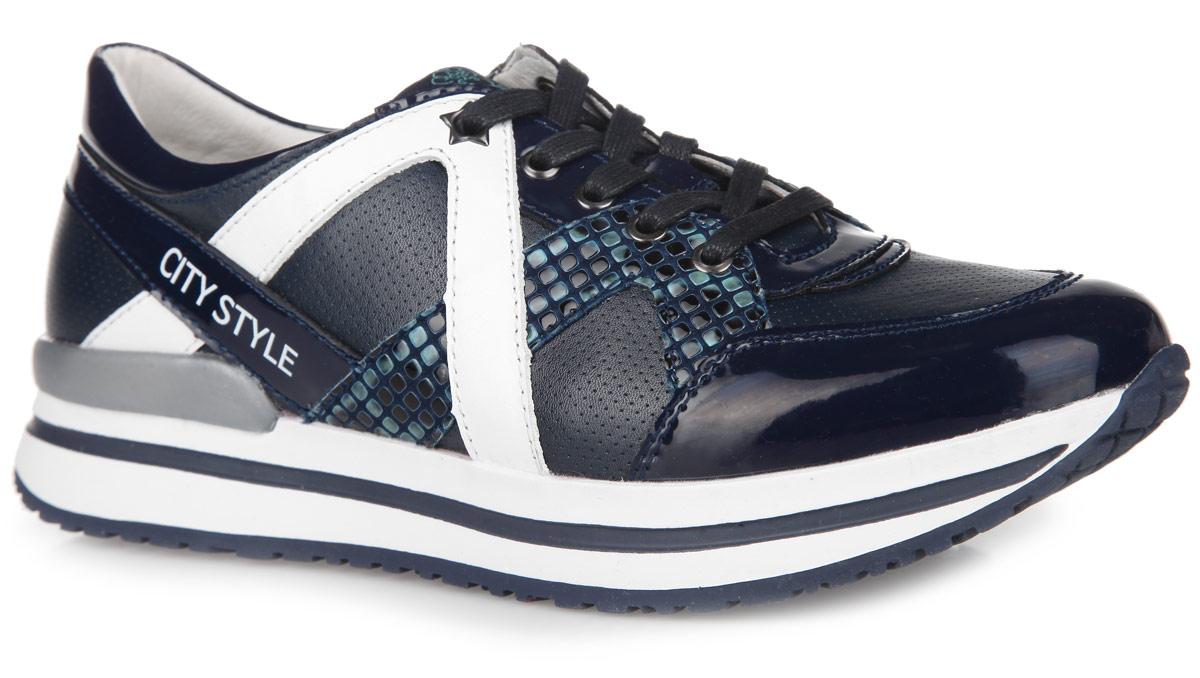 Кроссовки для девочки. 24374-124374-1Стильные кроссовки от Kapika заинтересуют вашу дочурку с первого взгляда. Модель выполнена из искусственной кожи разной фактуры и дополнена вставками из натуральной кожи. По верху обувь оформлена легкой перфорацией, по бокам - оригинальным тиснением под рептилию. Язычок декорирован текстильной нашивкой с символикой бренда, задняя часть сбоку - буквенным принтом. Классическая шнуровка надежно зафиксирует изделие на ноге. Мягкая верхняя часть и подкладка, выполненная из натуральной кожи, гарантируют уют и предотвращают от натирания. Анатомическая, влагопоглощающая, антибактериальная и амортизирующая стелька из ЭВА материала с верхним кожаным покрытием сохраняет комфортный микроклимат в обуви, обеспечивает эффективное поддержание свода стопы и правильное формирование детской стопы. Подошва из ТЭП оснащена рифлением для лучшей сцепки с поверхностью. Модные кроссовки займут достойное место среди коллекции обуви вашей девочки.