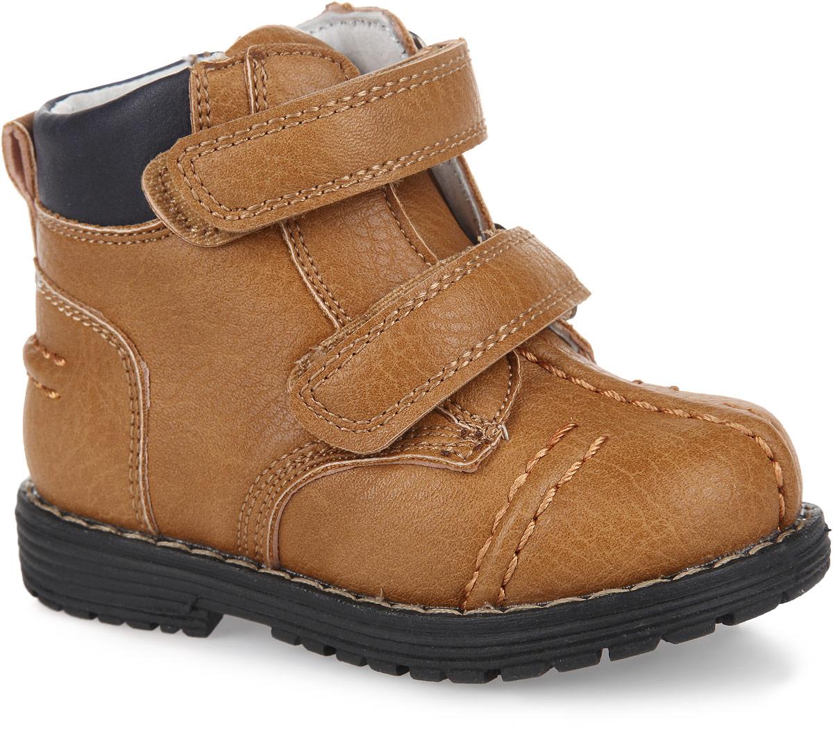 Ботинки для мальчика. 16720167207Модные ботинки от PlayToday заинтересуют вашего мальчика с первого взгляда. Модель, выполненная из искусственной кожи, оформлена внешними декоративными швами, вдоль ранта - контрастной прострочкой. Ремешки с застежками-липучками гарантируют надежную фиксацию модели на ноге. Боковая застежка-молния позволяет легко снимать и обувать модель. Ярлычок облегчает обувание модели. Внутренняя поверхность из натуральной кожи и стелька EVA с поверхностью из натуральной кожи комфортны при ходьбе. Стелька дополнена супинатором с перфорацией, который обеспечивает правильное положение ноги ребенка при ходьбе, предотвращает плоскостопие. Рифление на подошве обеспечивает отличное сцепление с любыми поверхностями. Чудесные ботинки займут достойное место в гардеробе вашего мальчика.