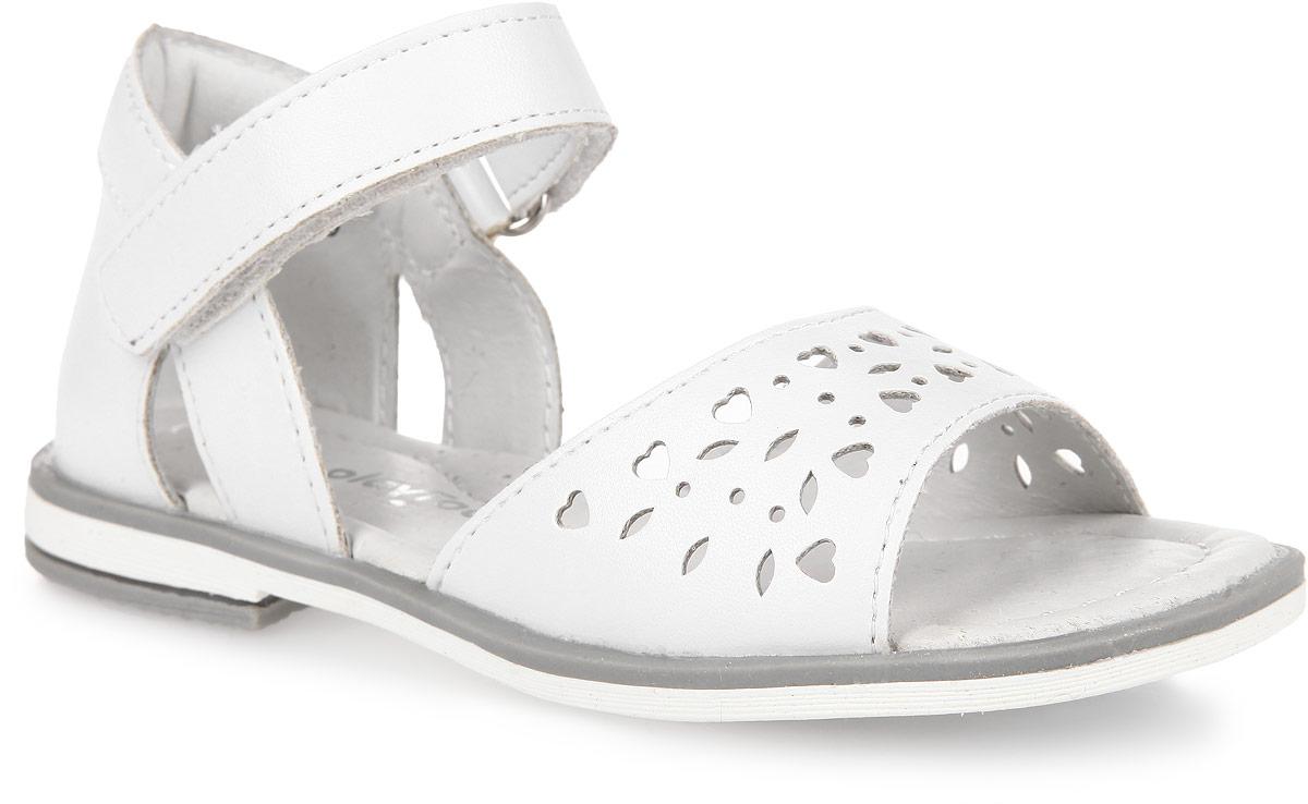 Сандалии для девочки. 162237162237Прелестные сандалии от PlayToday покорят вашу девочку с первого взгляда! Модель выполнена из искусственной кожи. Верх изделия оформлен декоративной перфорацией. Удобная застежка-липучка обеспечивает практичную фиксацию модели на ноге. Внутренняя поверхность и стелька, изготовленные из натуральной кожи, обеспечат ножкам комфорт и уют. Стелька дополнена супинатором с перфорацией, который обеспечивает правильное положение ноги ребенка при ходьбе, предотвращает плоскостопие. Подошва и каблук с рифлением обеспечивают отличное сцепление с любыми поверхностями. Очаровательные сандалии приведут в восторг вашу дочурку!