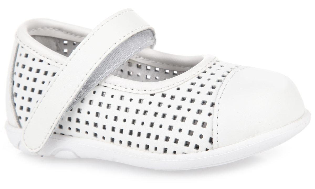 Туфли для девочки. 168212168212Модные туфли от PlayToday придутся по душе вашей юной моднице! Модель выполнена из натуральной кожи и оформлена перфорацией. Ремешок на застежке-липучке гарантирует надежную фиксацию обуви на ноге. Стелька EVA с поверхностью из натуральной кожи дополнена супинатором с перфорацией, который обеспечивает правильное положение ноги ребенка при ходьбе, предотвращает плоскостопие. Рифление на подошве гарантирует отличное сцепление с любыми поверхностями. Удобные туфли займут достойное место в гардеробе вашей девочки.