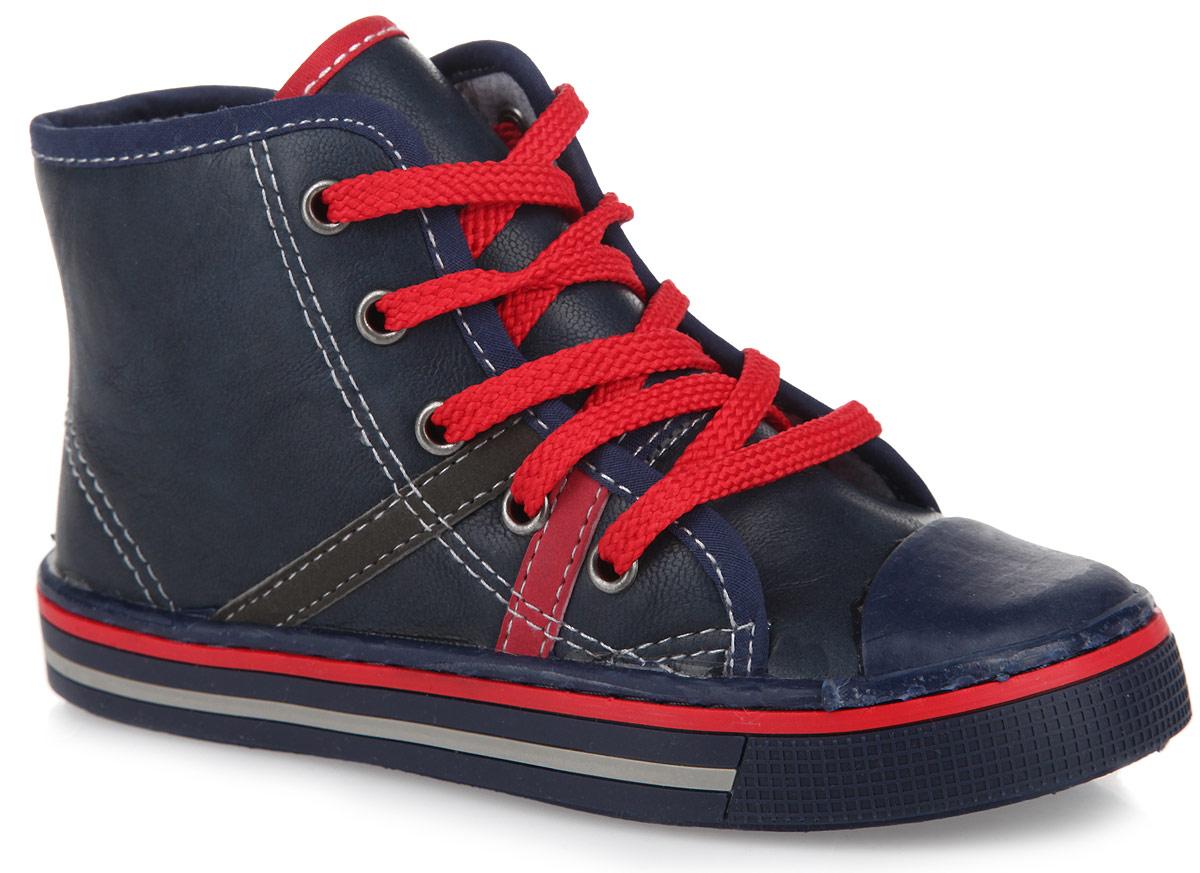 Ботинки для мальчика. 161219161219Очаровательные ботинки от PlayToday заинтересуют вашего мальчика с первого взгляда. Модель, выполненная из искусственной кожи, дополнена защитной вставкой из ПВХ на мысе, на подошве - контрастными полосками. Шнуровка гарантирует надежную фиксацию модели на ноге. Боковая застежка-молния позволяет легко снимать и обувать модель. Подкладка из текстиля с содержанием хлопка 80% обеспечивает комфорт и предотвращает натирание, стелька EVA с текстильной поверхностью - отличную амортизацию. Рифление на подошве гарантирует отличное сцепление с любыми поверхностями. Чудесные ботинки займут достойное место в гардеробе вашего мальчика.