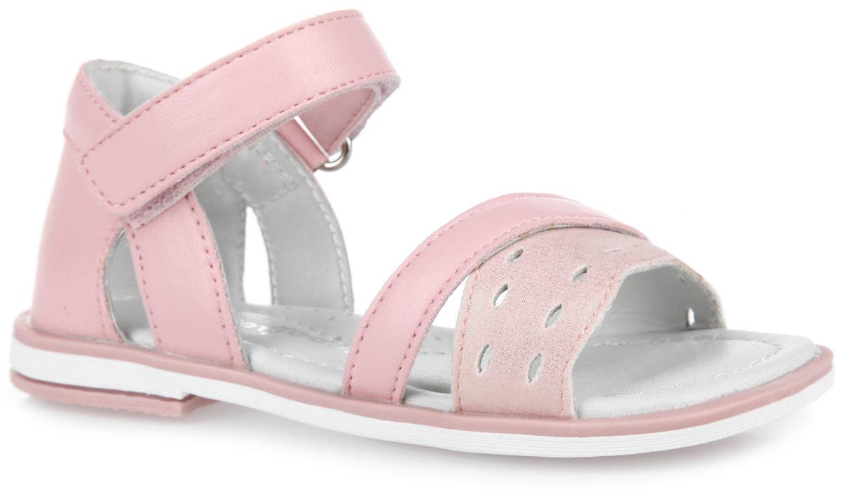 162236Прелестные сандалии от PlayToday покорят вашу девочку с первого взгляда! Модель выполнена из искусственной кожи. Верх изделия оформлен декоративной перфорацией. Высокий полужесткий задник и удобная застежка-липучка обеспечивает надежную фиксацию модели на ноге. Внутренняя поверхность и стелька, изготовленные из натуральной кожи, обеспечат ножкам комфорт и уют. Стелька дополнена супинатором с перфорацией, который обеспечивает правильное положение ноги ребенка при ходьбе, предотвращает плоскостопие. Подошва и каблук с рифлением обеспечивают отличное сцепление с любыми поверхностями. Очаровательные сандалии приведут в восторг вашу дочурку!