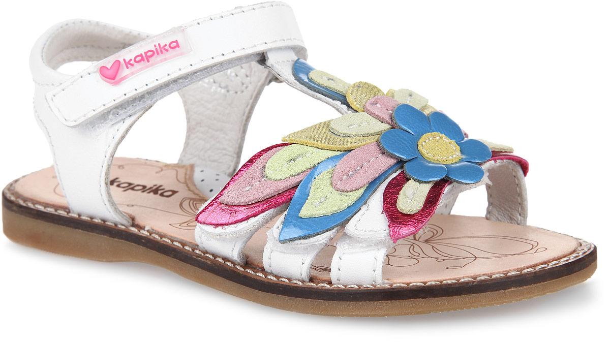 Сандалии для девочки. 32168-132168-1Прелестные сандалии от Kapika очаруют вашу малышку с первого взгляда! Модель выполнена из натуральной кожи и оформлена на мысе цветочной аппликацией, на подошве - вставкой контрастного цвета. Ремешок на застежке-липучке обеспечивает оптимальную посадку обуви на ноге, не давая ей смещаться из стороны в сторону и назад. Стелька из натуральной кожи дополнена супинатором, который обеспечивает правильное положение ноги ребенка при ходьбе, предотвращает плоскостопие. Рифленая поверхность подошвы гарантирует отличное сцепление с любыми поверхностями. Стильные сандалии поднимут настроение вам и вашей дочурке!