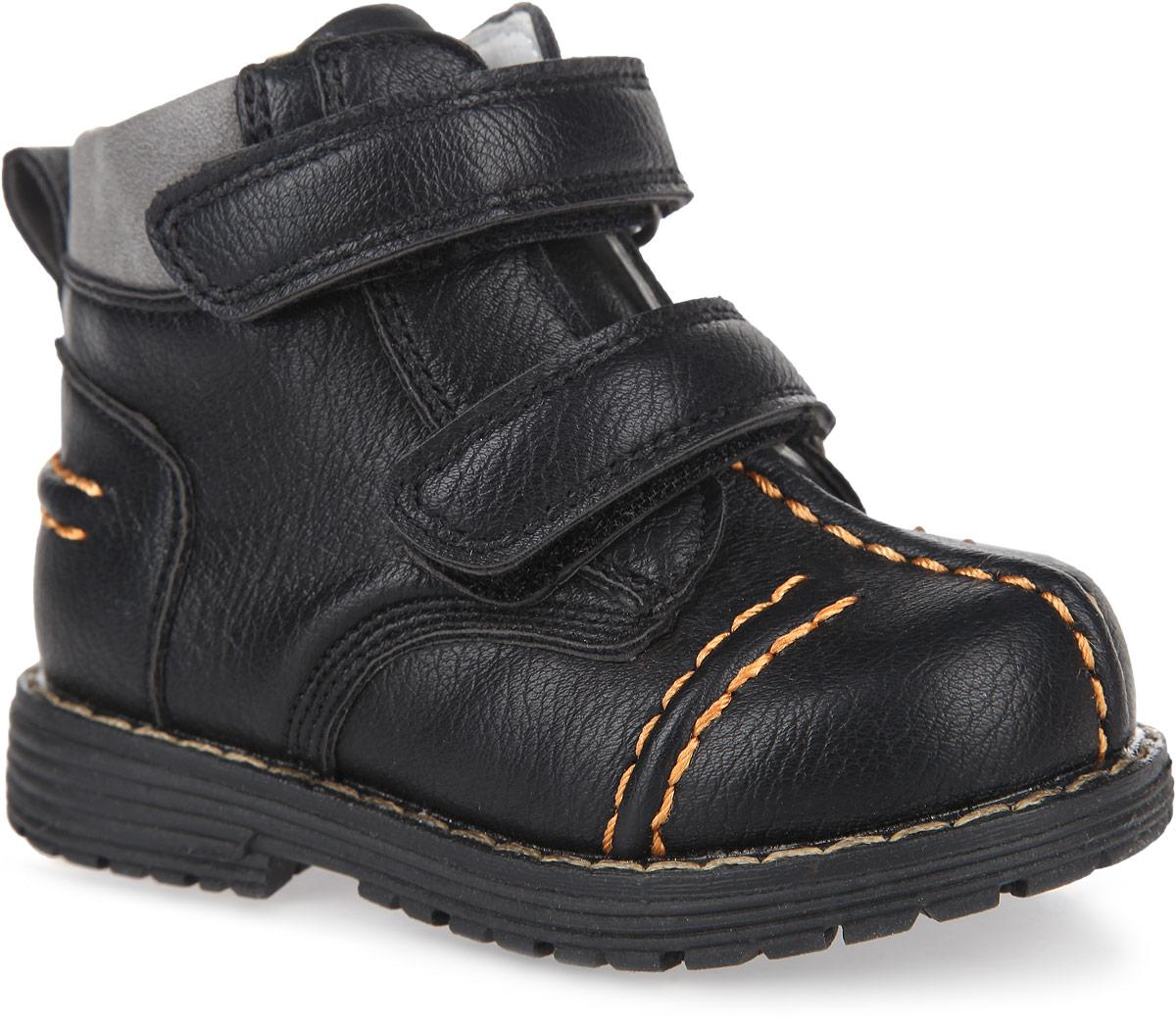 Ботинки167207Модные ботинки от PlayToday заинтересуют вашего мальчика с первого взгляда. Модель, выполненная из искусственной кожи, оформлена внешними декоративными швами, вдоль ранта - контрастной прострочкой. Ремешки с застежками-липучками гарантируют надежную фиксацию модели на ноге. Боковая застежка-молния позволяет легко снимать и обувать модель. Ярлычок облегчает обувание модели. Внутренняя поверхность из натуральной кожи и стелька EVA с поверхностью из натуральной кожи комфортны при ходьбе. Стелька дополнена супинатором с перфорацией, который обеспечивает правильное положение ноги ребенка при ходьбе, предотвращает плоскостопие. Рифление на подошве обеспечивает отличное сцепление с любыми поверхностями. Чудесные ботинки займут достойное место в гардеробе вашего мальчика.