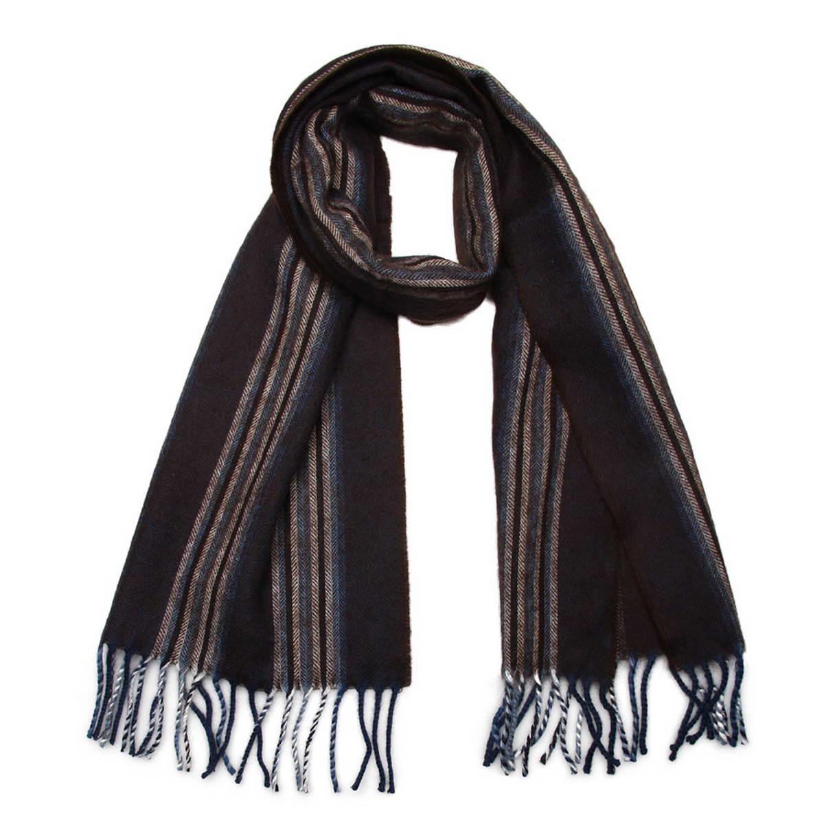 Шарф мужской. 5001432-65001432-6Элегантный мужской шарф Venera согреет вас в холодное время года, а также станет изысканным аксессуаром, который призван подчеркнуть ваш стиль и индивидуальность. Оригинальный теплый шарф выполнен из высококачественной шерстяной пряжи. Широкий шарф оформлен рисунком в полоску и дополнен бахромой в виде жгутиков по краю. Такой шарф станет превосходным дополнением к любому наряду, защитит вас от ветра и холода и позволит вам создать свой неповторимый стиль.