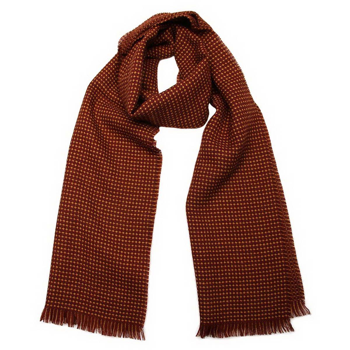 Шарф5001832-1Стильный мужской шарф Venera будет прекрасно согревать в осеннюю прохладу и морозы. Шарф выполнен из натуральной шерсти и оформлен по краям бахромой. Классический шарф идеально дополнит мужской образ, а ненавязчивый дизайн сделает аксессуар универсальной вещью, которая удачно дополнит любую верхнюю одежду мужчины, подчеркнет неповторимый вкус и элегантность.