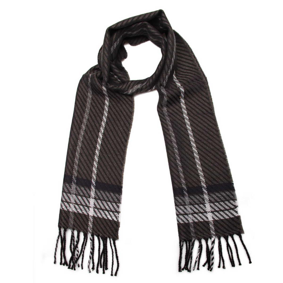 Шарф мужской. 5002832-45002832-4Элегантный мужской шарф Venera согреет вас в холодное время года, а также станет изысканным аксессуаром, который призван подчеркнуть ваш стиль и индивидуальность. Оригинальный теплый шарф выполнен из высококачественной пряжи на основе шерсти с добавлением акрила. Шарф оформлен узором в полоску и дополнен жгутиками по краю. Такой шарф станет превосходным дополнением к любому наряду, защитит вас от ветра и холода и позволит вам создать свой неповторимый стиль.