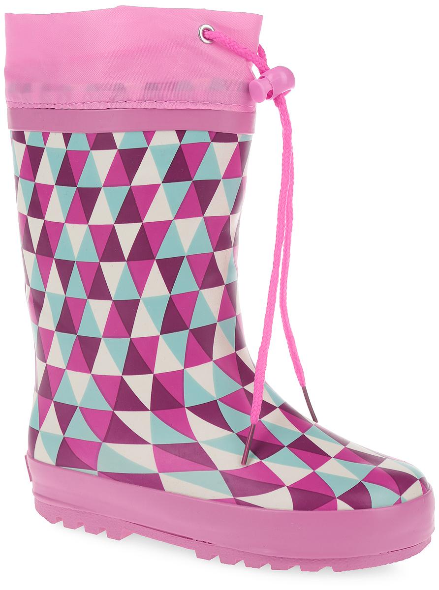 10687-19Утепленные резиновые сапоги от Зебра - идеальная обувь в дождливую холодную погоду для вашей девочки. Сапоги выполнены из резины и оформлены оригинальным принтом. Подкладка из искусственного меха и съемная стелька EVA с текстильной поверхностью не дадут ногам замерзнуть. Текстильный верх голенища регулируется в объеме за счет шнурка со стоппером. Подошва с протектором гарантирует отличное сцепление с любой поверхностью. Резиновые сапоги не только прекрасно защитят ноги вашей девочки от промокания в дождливый день, но и поднимут ей настроение.
