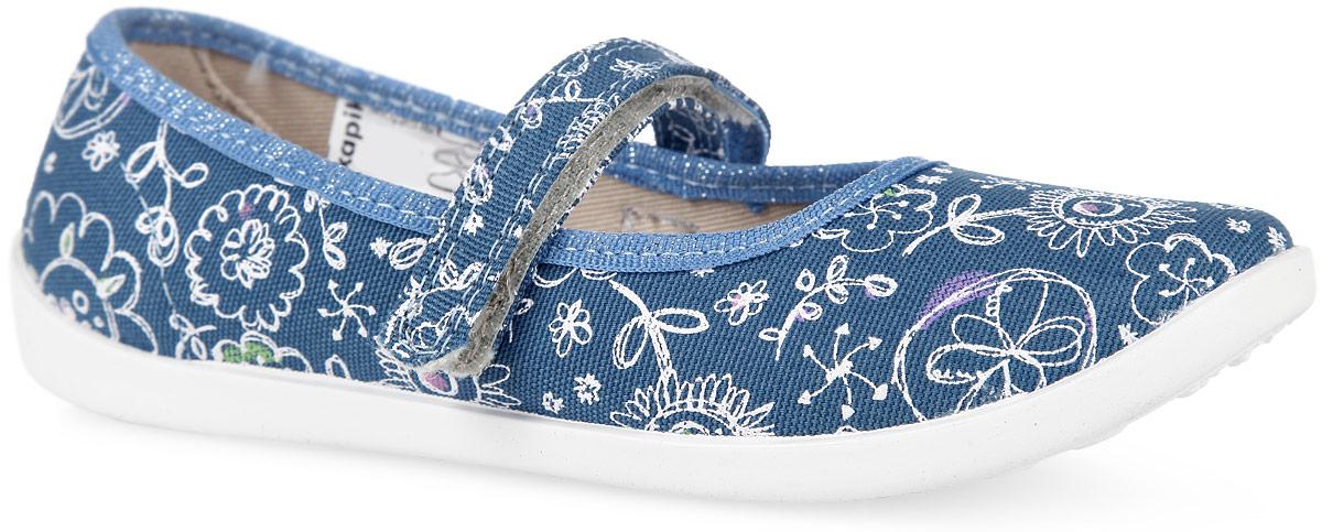 Туфли для девочки. 22320ф-1022320ф-10Прелестные туфли от Kapika заинтересуют вашу юную модницу с первого взгляда. Туфли выполнены из качественного ворсистого текстиля и оформлены оригинальным цветочным принтом. На ноге модель фиксируется с помощью удобного ремешка с застежкой-липучкой. Подкладка выполнена из текстиля. Стелька, выполненная из мягкой искусственно кожи, дополнена небольшим супинатором с перфорацией, который обеспечивает правильное положение стопы ребенка при ходьбе и предотвращает плоскостопие. Подошва выполнена из легкого и гибкого полимерного материала, а ее рифление гарантирует отличное сцепление с любой поверхностью. Такие туфли займут достойное место в гардеробе вашей девочки.