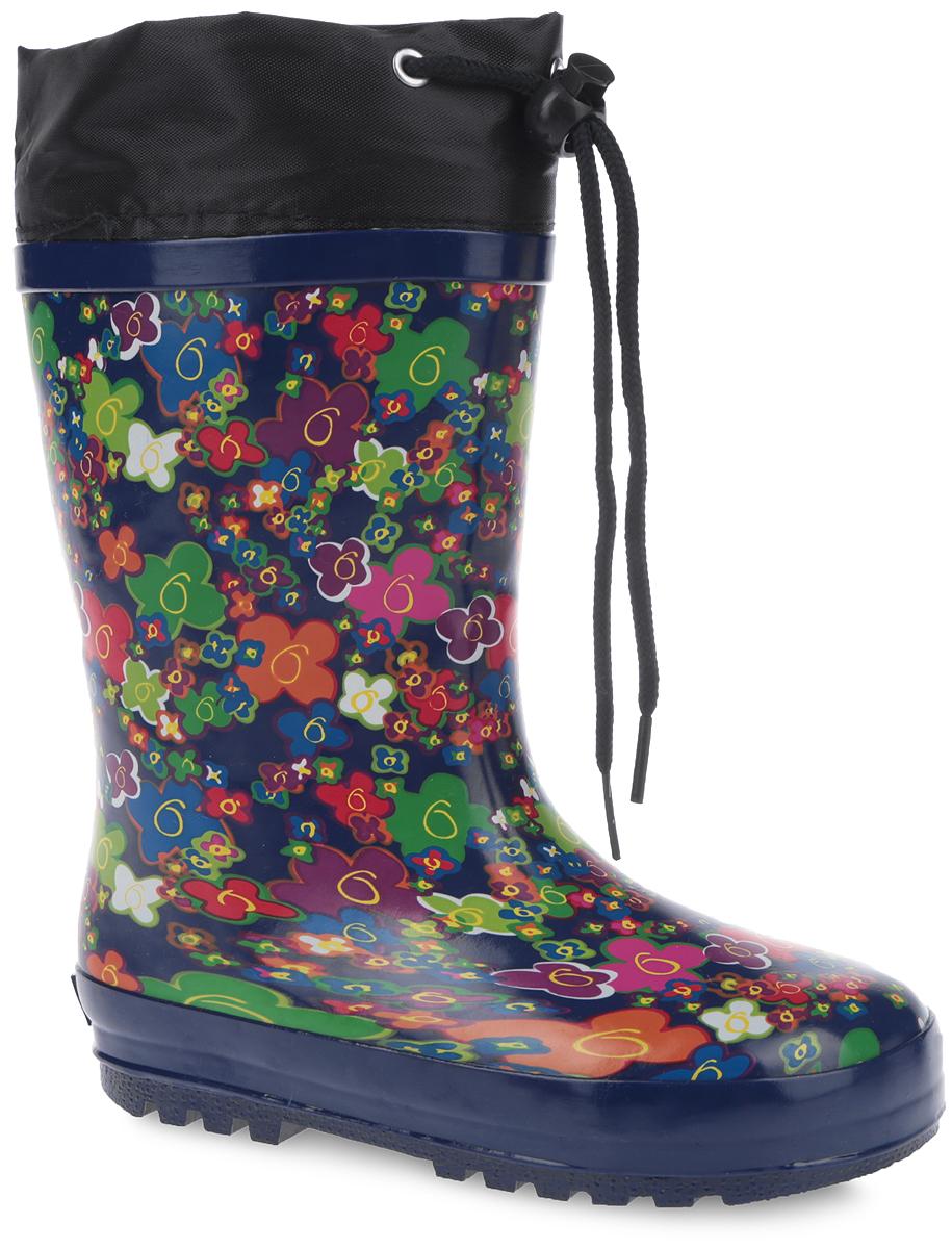 Сапоги резиновые для девочки. 10249-1910249-19Утепленные резиновые сапоги от Зебра - идеальная обувь в дождливую холодную погоду для вашей девочки. Сапоги выполнены из резины и оформлены цветочным принтом. Подкладка из искусственного меха и съемная стелька EVA с текстильной поверхностью не дадут ногам замерзнуть. Текстильный верх голенища регулируется в объеме за счет шнурка со стоппером. Подошва с протектором гарантирует отличное сцепление с любой поверхностью. Резиновые сапоги не только прекрасно защитят ноги вашей девочки от промокания в дождливый день, но и поднимут ей настроение.