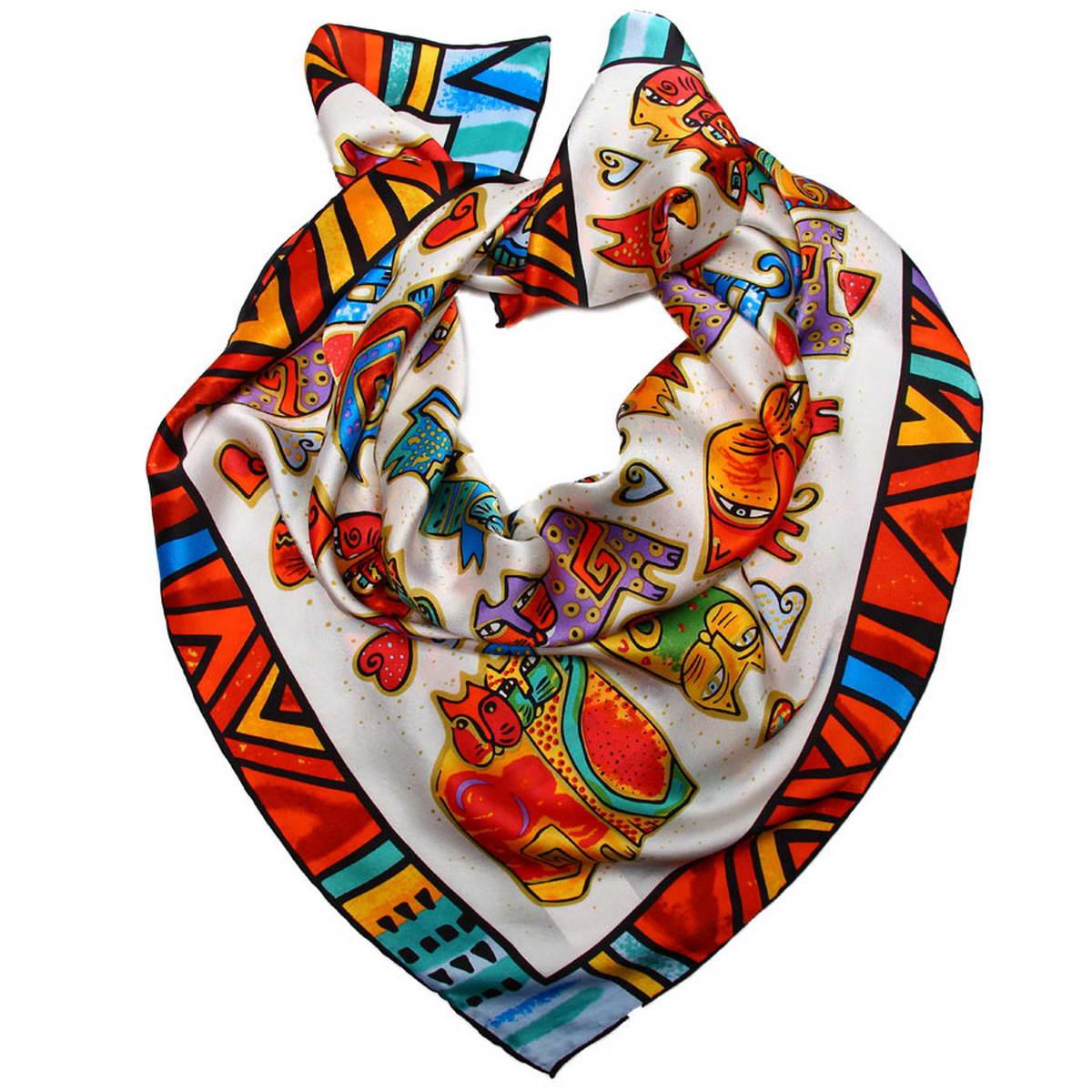 1810712-1Стильный женский платок Venera станет великолепным завершением любого наряда. Платок изготовлен из высококачественного 100% шелка и оформлен красочным принтом с изображением забавных кошек. Классическая квадратная форма позволяет носить платок на шее, украшать им прическу или декорировать сумочку. Легкий, мягкий и шелковистый платок поможет вам создать изысканный женственный образ, а также согреет в непогоду. Такой платок превосходно дополнит любой наряд и подчеркнет ваш неповторимый вкус и элегантность.