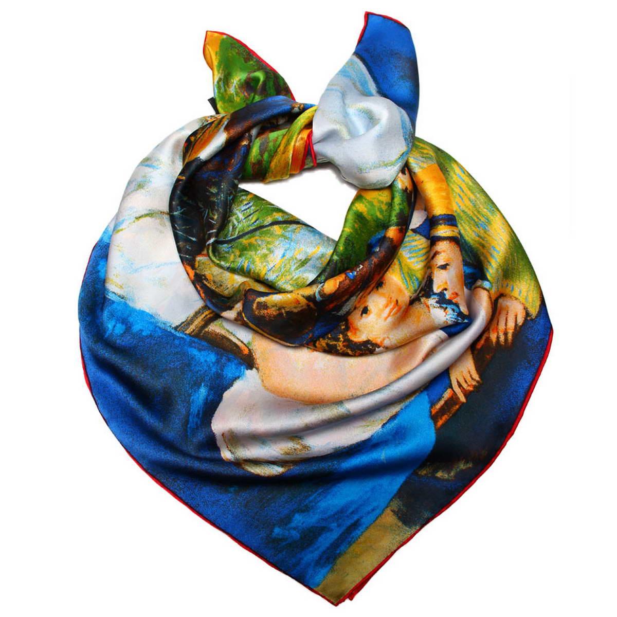 Платок1810912-1Стильный женский платок Venera станет великолепным завершением любого наряда. Платок изготовлен из 100% шелка и оформлен изображением репродукции картины. Классическая квадратная форма позволяет носить платок на шее, украшать им прическу или декорировать сумочку. Легкий и приятный на ощупь платок поможет вам создать изысканный женственный образ. Такой платок превосходно дополнит любой наряд и подчеркнет ваш неповторимый вкус и элегантность.