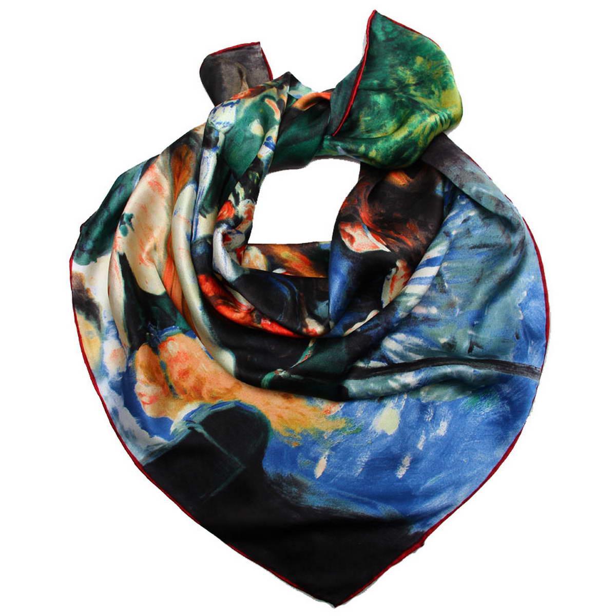 Платок женский. 1810912-21810912-2Изысканный женский платок Venera изготовлен из натурального шелка. Такой платок станет неотъемлемым элементом вашего гардероба. Платок оформлен изображением картины Пьера Огюста Ренуара Бал в Мулен де ла Галетт. Края изделия обработаны вручную. С таким аксессуаром вы всегда будете смотреться неповторимо и элегантно. Классическая квадратная форма позволяет носить платок на шее, украшать им прическу или декорировать сумочку. Платок Venera превосходно дополнит любой наряд и подчеркнет ваш неповторимый вкус.