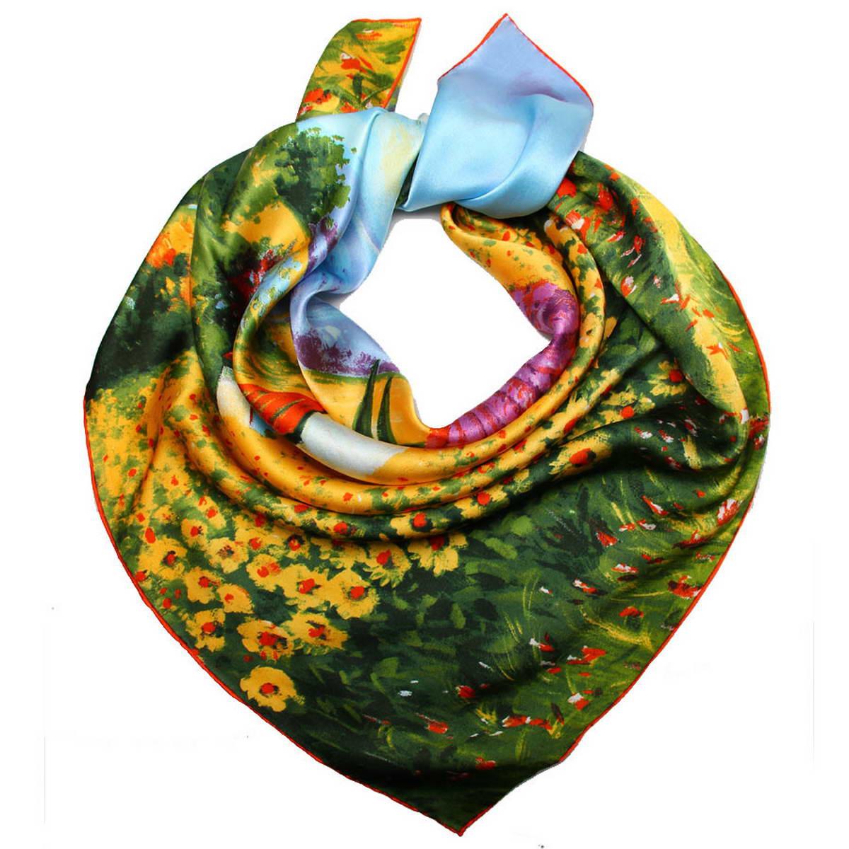Платок1810912-8Стильный женский платок Venera станет великолепным завершением любого наряда. Платок изготовлен из высококачественного 100% шелка и оформлен красочным принтом с изображением пасторального пейзажа. Классическая квадратная форма позволяет носить платок на шее, украшать им прическу или декорировать сумочку. Легкий, мягкий и шелковистый платок поможет вам создать изысканный женственный образ, а также согреет в непогоду. Такой платок превосходно дополнит любой наряд и подчеркнет ваш неповторимый вкус и элегантность.