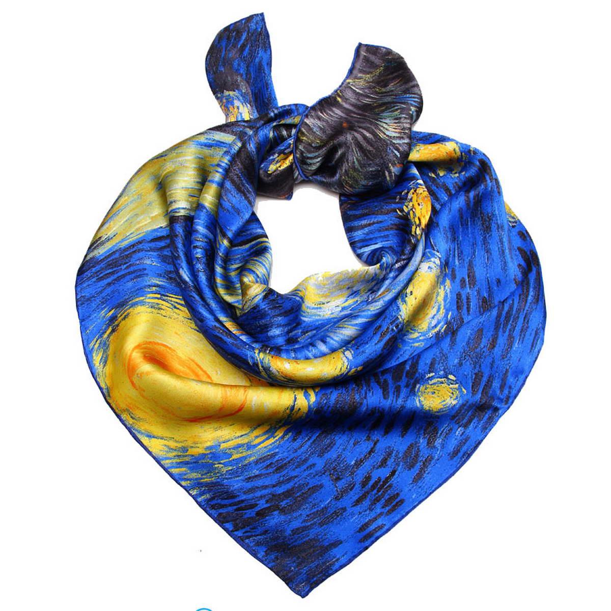 1810912-10Стильный женский платок Venera станет великолепным завершением любого наряда. Платок изготовлен из 100% шелка и оформлен изображение картины Винсента Ван Гога Звездная ночь. Классическая квадратная форма позволяет носить платок на шее, украшать им прическу или декорировать сумочку. Легкий и приятный на ощупь платок поможет вам создать изысканный женственный образ. Такой платок превосходно дополнит любой наряд и подчеркнет ваш неповторимый вкус и элегантность.