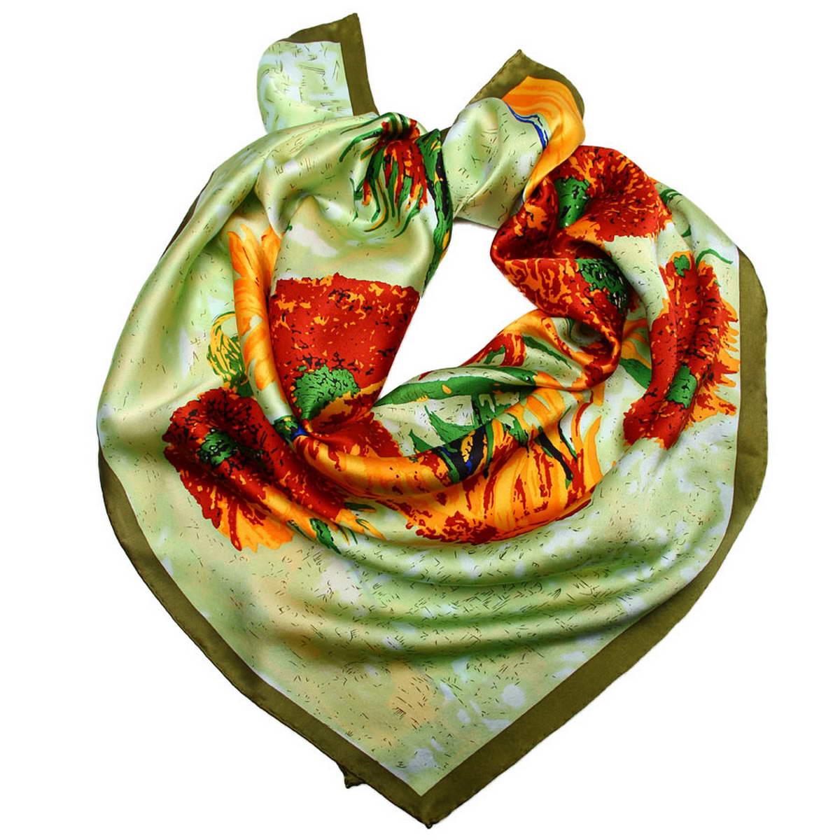 Платок1810912-11Стильный женский платок Venera станет великолепным завершением любого наряда. Платок, изготовленный из 100% шелка, оформлен изображением картины Винсента Ван Гога Натюрморт с подсолнухами в вазе. Классическая квадратная форма позволяет носить платок на шее, украшать им прическу или декорировать сумочку. Легкий и приятный на ощупь платок поможет вам создать изысканный женственный образ. Такой платок превосходно дополнит любой наряд и подчеркнет ваш неповторимый вкус и элегантность.
