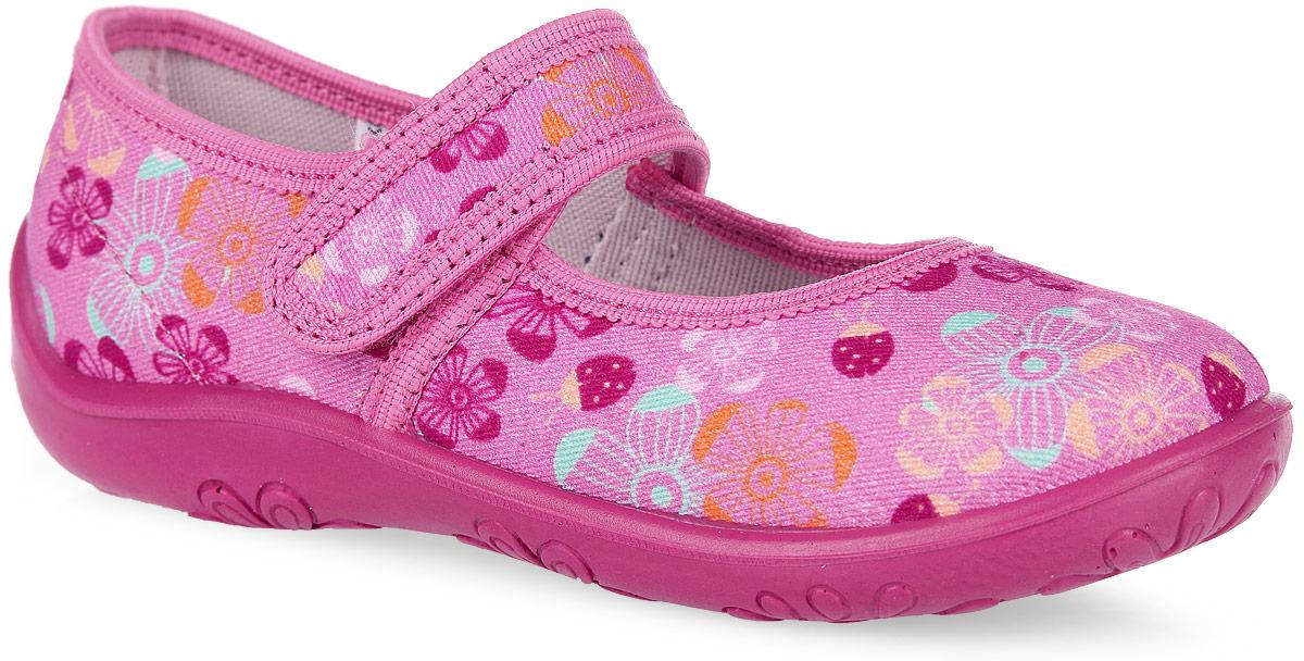 Туфли для девочки. 23274ф-623274ф-6Очаровательные туфли от Kapika покорят вашу девочку с первого взгляда! Модель выполнена из текстиля, оформленного цветочными изображениями. Подкладка, исполненная из текстиля, обеспечит максимальный комфорт при ходьбе. Анатомическая, влагопоглощающая, антибактериальная и амортизирующая стелька из ЭВА материала с верхним кожаным покрытием сохраняет комфортный микроклимат в обуви, обеспечивает эффективное поддержание свода стопы и правильное формирование детской стопы. Полужесткий задник защищает от ударов при движении. Удобная застежка-липучка гарантирует надежную фиксацию обуви на ножке вашей малышки. Рифленая подошва не скользит. Практичные туфли займут достойное место среди коллекции обуви вашей девочки.