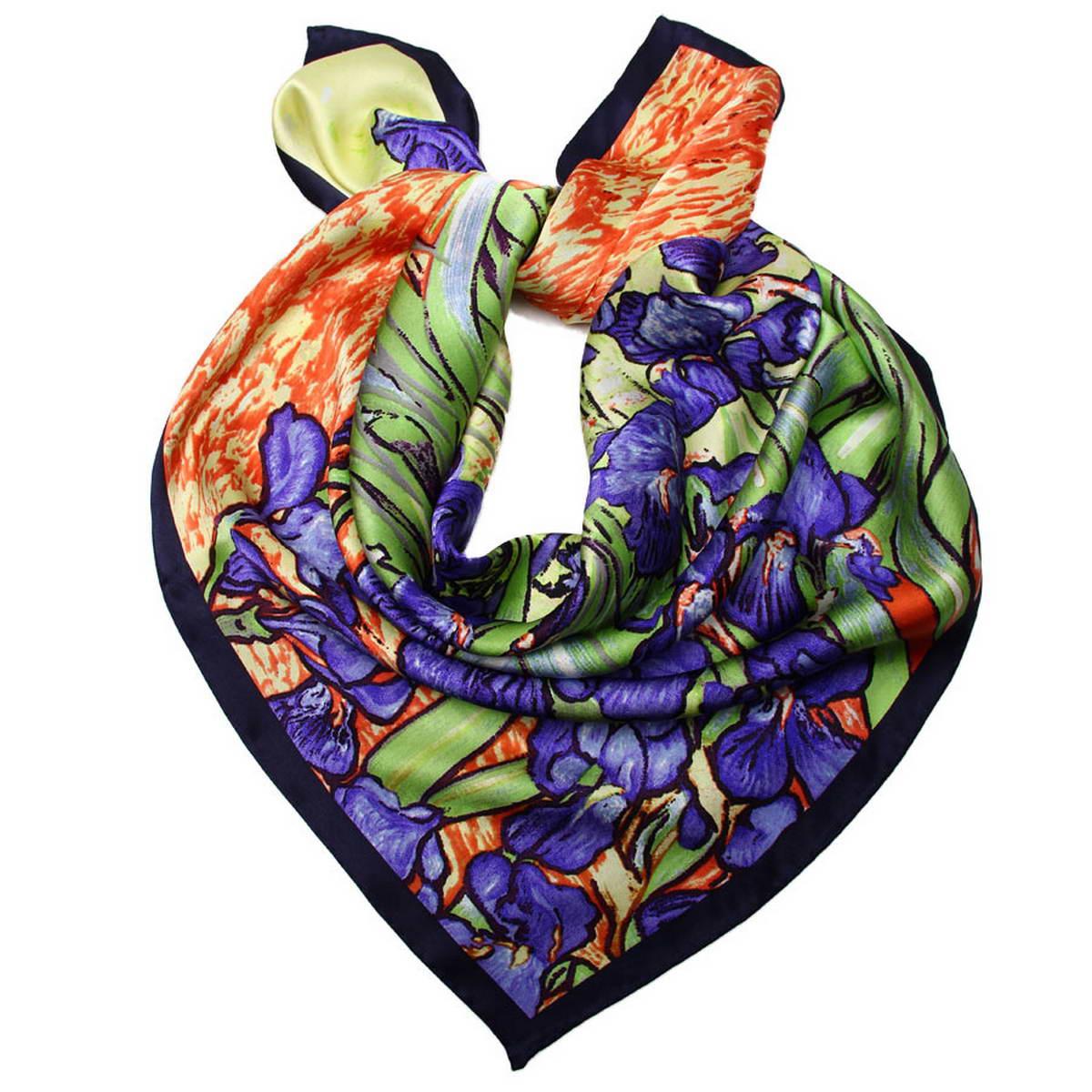 Платок женский. 1810912-121810912-12Стильный женский платок Venera станет великолепным завершением любого наряда. Платок, изготовленный из 100% шелка, оформлен изображением картины Винсента Ван Гога Ирисы. Классическая квадратная форма позволяет носить платок на шее, украшать им прическу или декорировать сумочку. Легкий и приятный на ощупь платок поможет вам создать изысканный женственный образ. Такой платок превосходно дополнит любой наряд и подчеркнет ваш неповторимый вкус и элегантность.