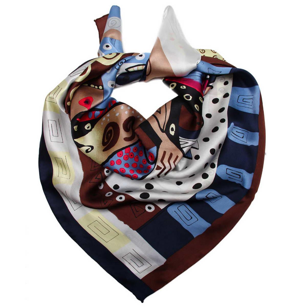 Платок женский. 1810912-151810912-15Стильный женский платок Venera станет великолепным завершением любого наряда. Платок изготовлен из высококачественного 100% шелка и оформлен красочным принтом с изображением забавных кошек с рыбками. Классическая квадратная форма позволяет носить платок на шее, украшать им прическу или декорировать сумочку. Легкий, мягкий и шелковистый платок поможет вам создать изысканный женственный образ, а также согреет в непогоду. Такой платок превосходно дополнит любой наряд и подчеркнет ваш неповторимый вкус и элегантность.