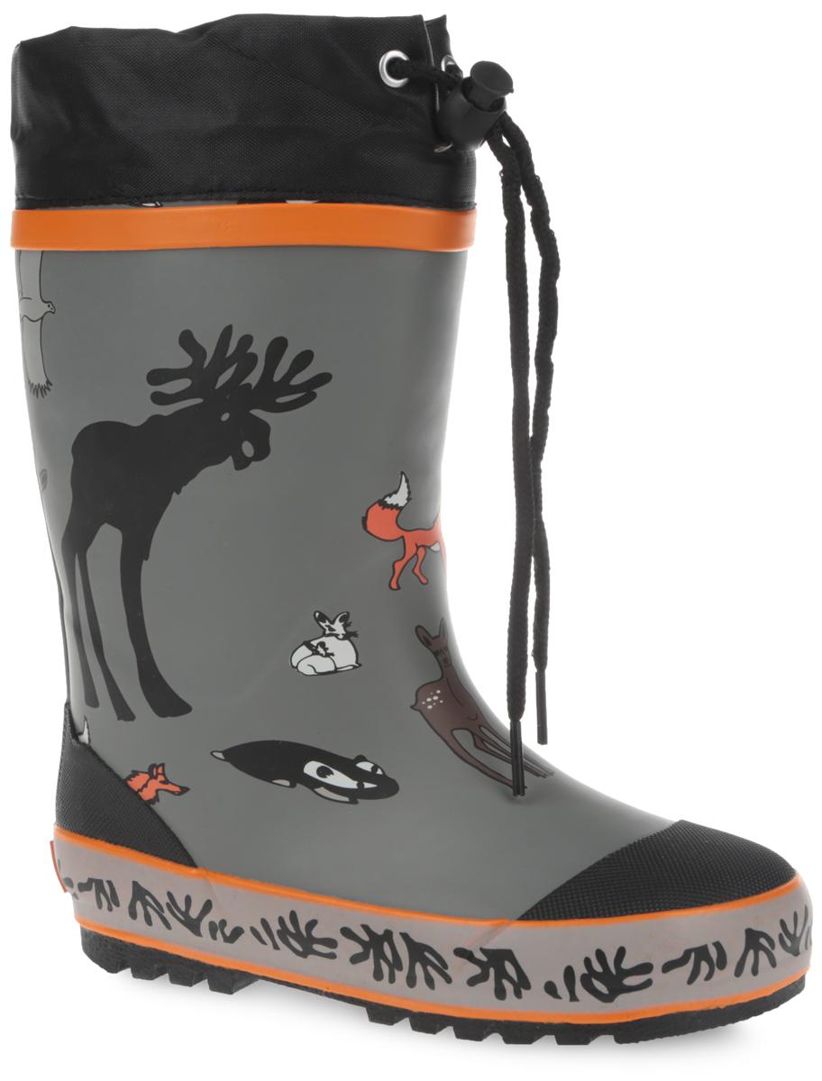 Сапоги резиновые для мальчика. 10686-1010686-10Утепленные резиновые сапоги от Зебра - идеальная обувь в дождливую холодную погоду для вашего мальчика. Сапоги выполнены из резины и оформлены изображением зверей. Подкладка из искусственного меха и съемная стелька EVA с текстильной поверхностью не дадут ногам замерзнуть. Текстильный верх голенища регулируется в объеме за счет шнурка со стоппером. Подошва с протектором гарантирует отличное сцепление с любой поверхностью. Резиновые сапоги не только прекрасно защитят ноги вашего мальчика от промокания в дождливый день, но и поднимут ему настроение.