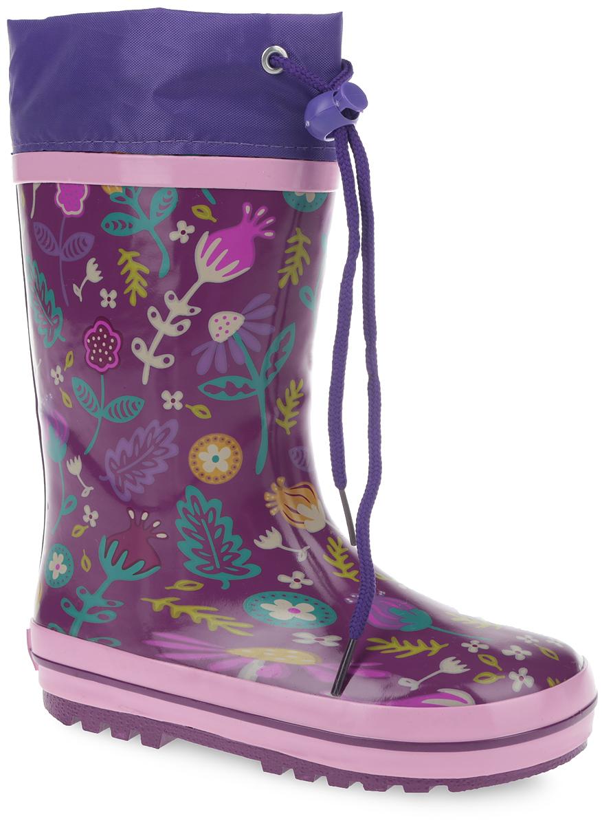 Сапоги резиновые для девочки. 10677-2010677-20Утепленные резиновые сапоги от Зебра - идеальная обувь в дождливую холодную погоду для вашей девочки. Сапоги выполнены из резины и оформлены цветочным принтом. Подкладка из искусственного меха и съемная стелька EVA с текстильной поверхностью не дадут ногам замерзнуть. Текстильный верх голенища регулируется в объеме за счет шнурка со стоппером. Подошва с протектором гарантирует отличное сцепление с любой поверхностью. Резиновые сапоги не только прекрасно защитят ноги вашей девочки от промокания в дождливый день, но и поднимут ей настроение.