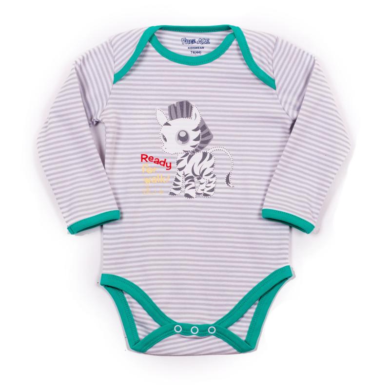 Фуфайка (боди) длинный рукав для мальчика. ZBB 13256-GGZBB 13256-GGУдобный боди с днинным рукавом для мальчика