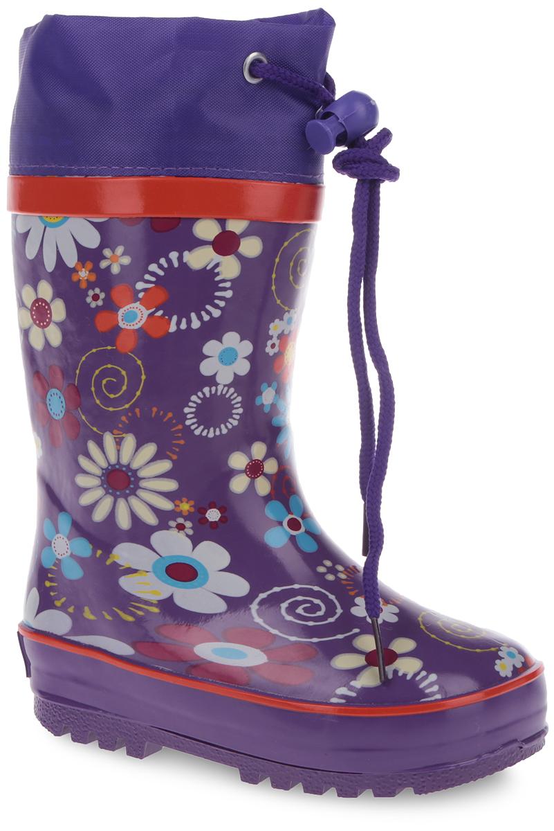 Сапоги резиновые для девочки. 10684-1910684-19Утепленные резиновые сапоги от Зебра - идеальная обувь в дождливую холодную погоду для вашей девочки. Сапоги выполнены из резины и оформлены цветочным принтом. Подкладка из искусственного меха и съемная стелька EVA с текстильной поверхностью не дадут ногам замерзнуть. Текстильный верх голенища регулируется в объеме за счет шнурка со стоппером. Подошва с протектором гарантирует отличное сцепление с любой поверхностью. Резиновые сапоги не только прекрасно защитят ноги вашей девочки от промокания в дождливый день, но и поднимут ей настроение.