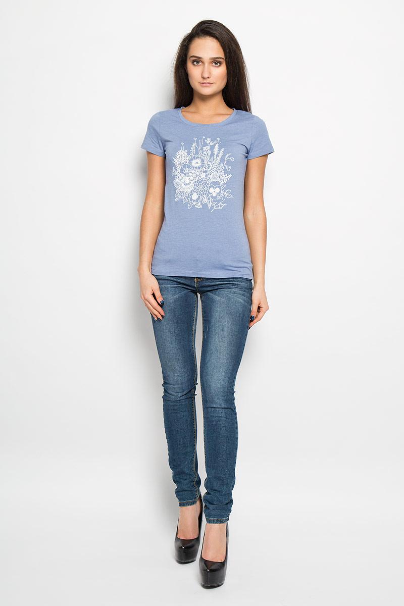 Футболка160076Отличная женская футболка F5, выполненная из хлопка с добавлением полиэстера и эластана, приятная на ощупь не сковывает движения и позволяет коже дышать. Модель с круглым вырезом горловины и короткими рукавами спереди оформлена термоаппликацией с цветочным принтом. Эта футболка станет отличным дополнением к вашему гардеробу.