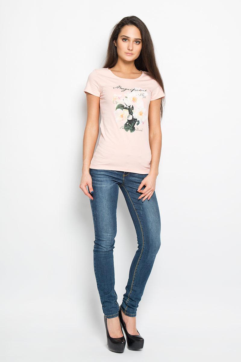 12380/Magnificent_160166Стильная женская футболка F5, изготовленная из эластичного хлопка, необычайно мягкая и приятная на ощупь, не сковывает движения, обеспечивая наибольший комфорт. Модель слегка приталенного кроя с круглым вырезом горловины и короткими рукавами оформлена цветочным принтом и надписью Magnificent. Футболка F5 - отличный вариант для создания образа в стиле Casual.