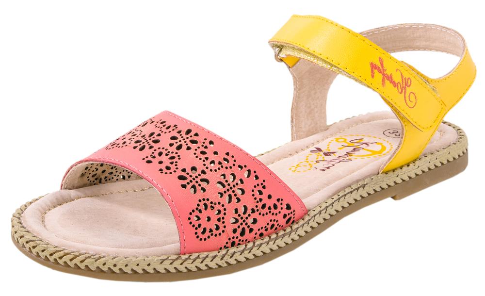 Сандалии для девочек. 522080-22522080-22Удобные, максимально открытые сандали для девочки выполнены из натуральной кожи.Потрясающая легкость, уравновешенная графика деталей, интересные цвета подаряю юным модницам истинно летние ощущения тепла, света и радости.