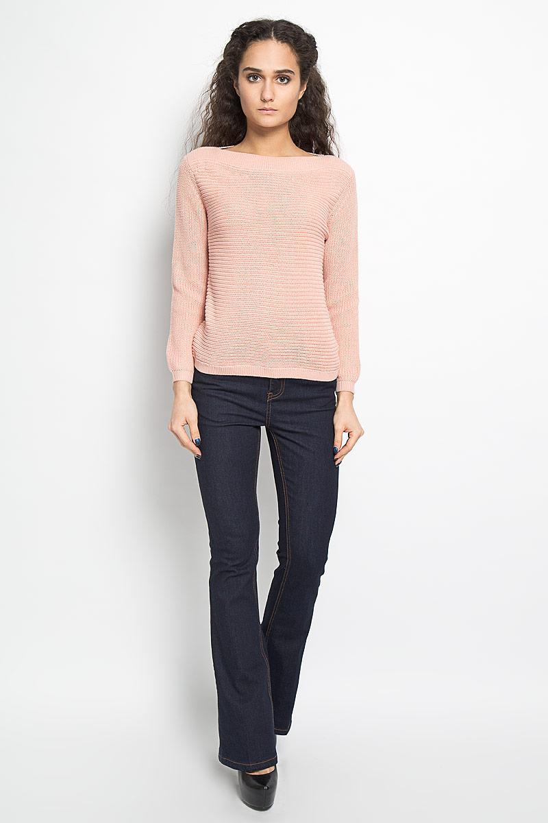 10156035 379Потрясающий женский пуловер Broadway Bianka облегающего кроя выполнен из хлопка и акрила. Модель с длинными рукавами и воротником-лодочкой оформлена фактурной вязкой. Манжеты, горловина и низ изделия связаны резинкой. В таком пуловере вы будете выглядеть эффектно и стильно.