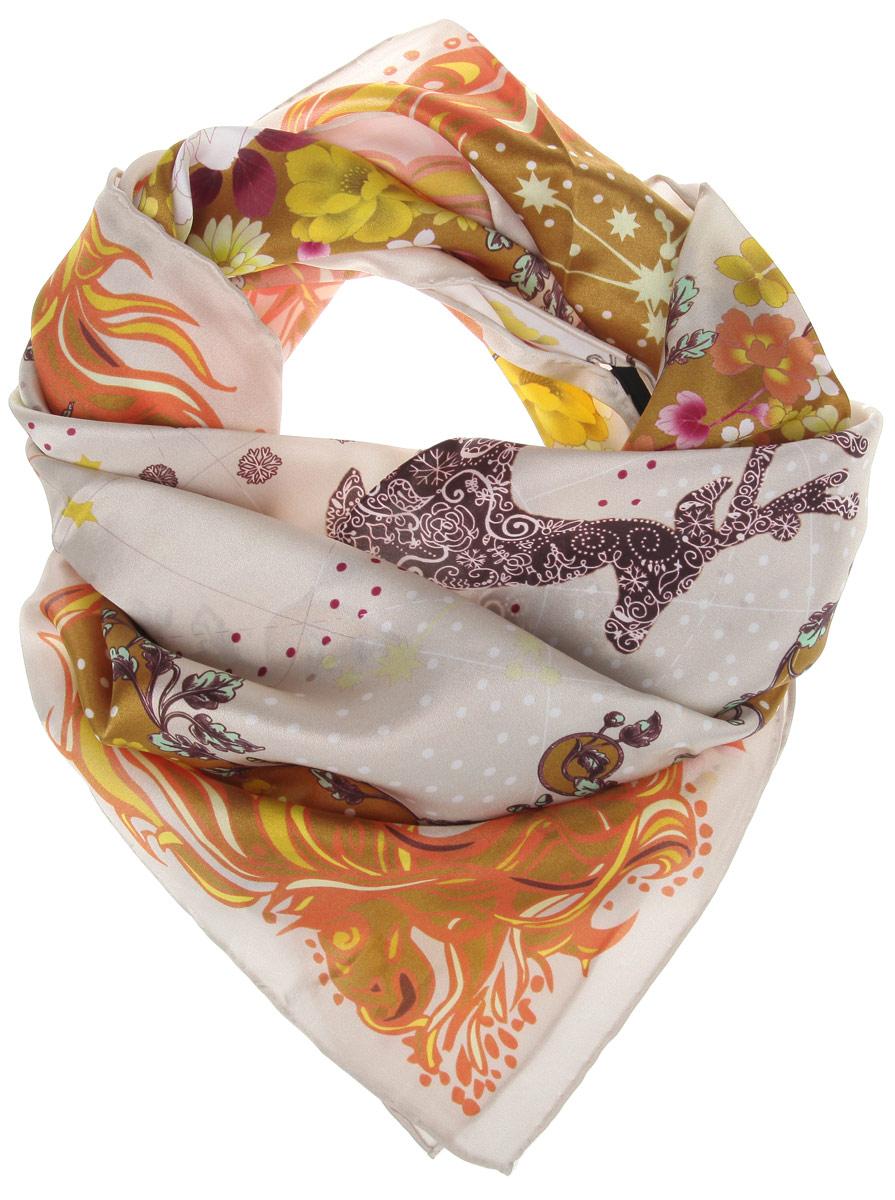 Платок21619-1BСтильный женский платок Moltini станет великолепным завершением любого наряда. Платок изготовлен из 100% шелка, оформлен по центру изображениями созвездий, а по краям цветочным принтом. Также края модели обработаны кантом. Классическая квадратная форма позволяет носить платок на шее, украшать им прическу или декорировать сумочку. Такой платок превосходно дополнит любой наряд и подчеркнет ваш неповторимый вкус и элегантность.