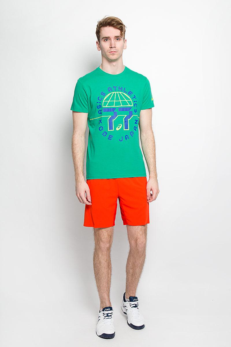 Футболка мужская Training Graphic SS Top. 131535131535-8107Стильная мужская футболка Asics Training Graphic SS Top, выполненная из высококачественного хлопка с добавлением полиэстера, обладает высокой теплопроводностью, воздухопроницаемостью и гигроскопичностью, позволяет коже дышать и великолепно отводит влагу, оставляя тело сухим. Такая футболка превосходно подойдет для занятий спортом и активного отдыха. Модель с короткими рукавами и круглым вырезом горловины - идеальный вариант для создания образа в спортивном стиле. Футболка декорирована крупным принтом, рисунок которого означает год, в котором марка сменила свое название на Asics. Такая модель подарит вам комфорт в течение всего дня и послужит замечательным дополнением к вашему гардеробу.