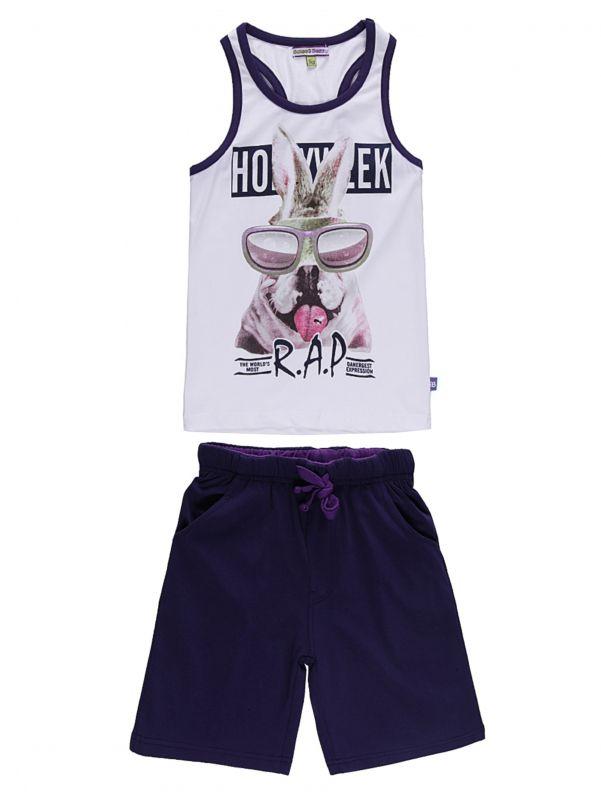 Комплект для мальчика: майка, шорты. 196388196388Комплект одежды для мальчика Sweet Berry, состоящий из майки и шорт, станет отличным дополнением к детскому гардеробу. Изготовленный из эластичного хлопка, он очень мягкий и приятный на ощупь, не сковывает движения и позволяет коже дышать, обеспечивая наибольший комфорт. Майка-борцовка с круглым вырезом горловины оформлена спереди оригинальным принтом и надписями. Шорты на поясе имеют мягкую трикотажную резинку с затягивающимся шнурком, благодаря чему они не сдавливают животик ребенка и не сползают. Спереди расположены два втачных кармана. В таком комплекте одежды маленький модник будет чувствовать себя комфортно, уютно, а также всегда будет в центре внимания!